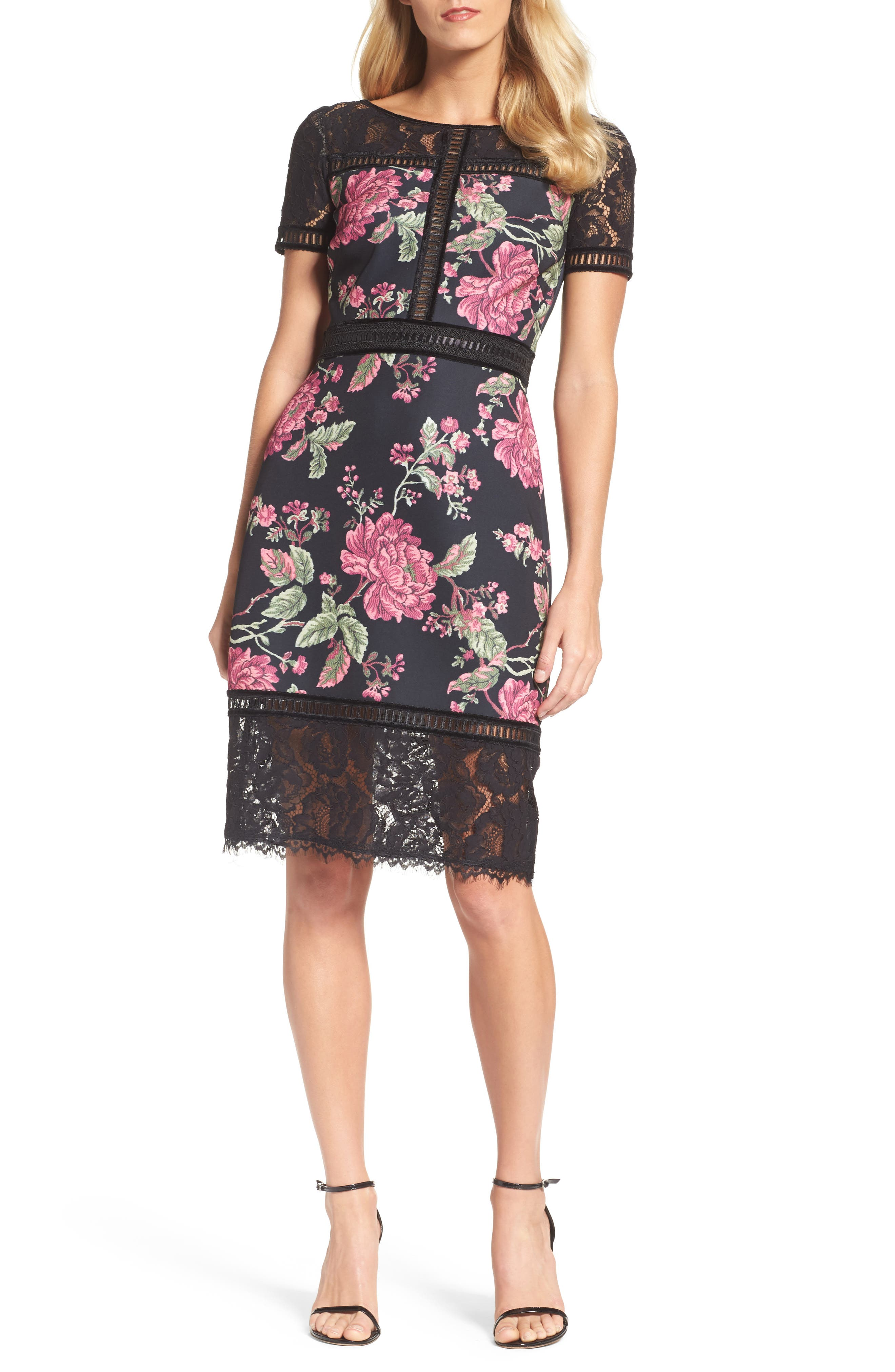 Floral Neoprene & Lace Sheath Dress,                         Main,                         color, BLACK