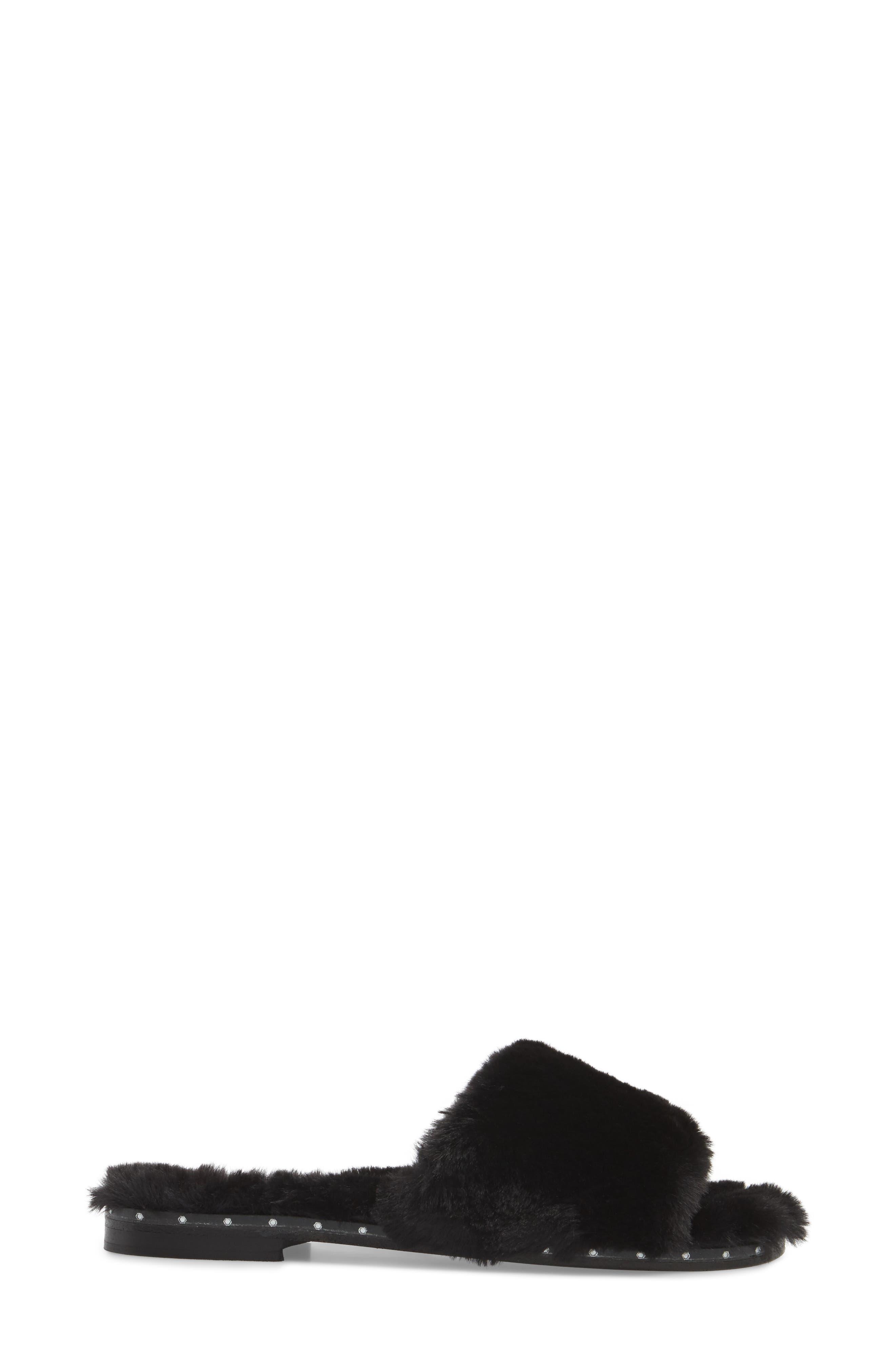 Peggy Faux Fur Slide Sandal,                             Alternate thumbnail 3, color,                             001