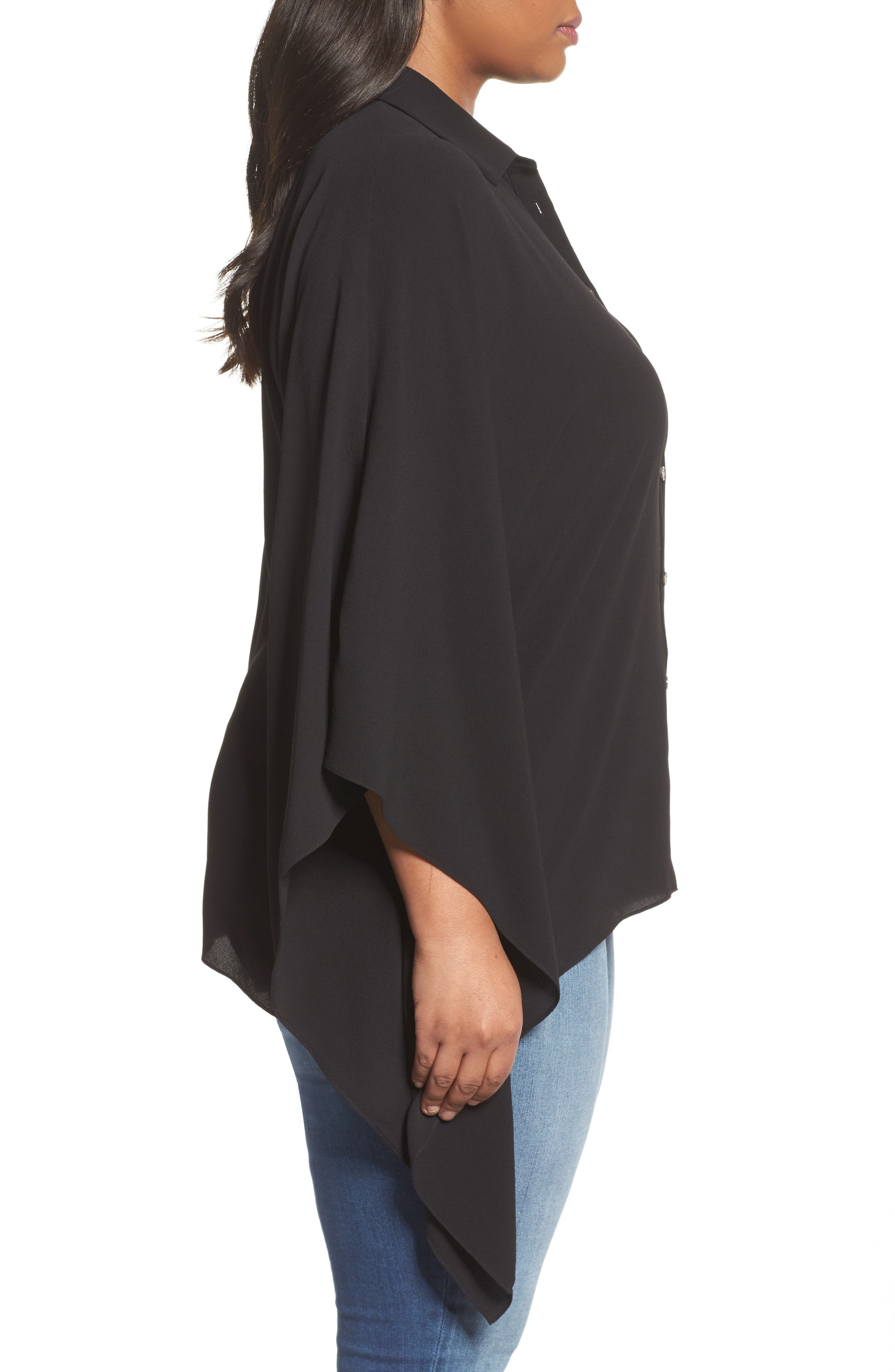 Button Down Collared Poncho Top,                             Alternate thumbnail 3, color,                             006
