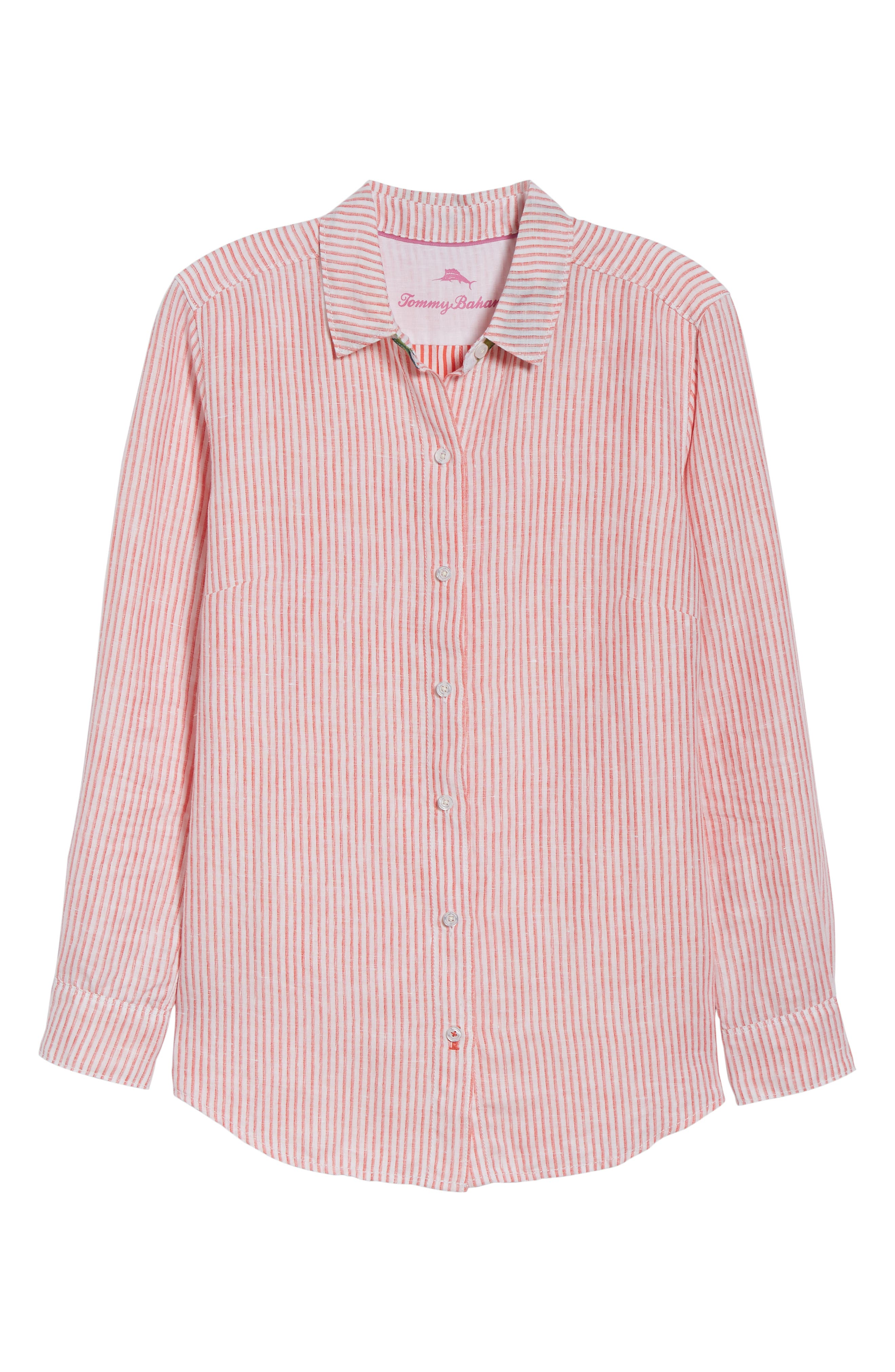 Crystalline Waters Long Sleeve Shirt,                             Alternate thumbnail 6, color,                             DUBARRY CORAL