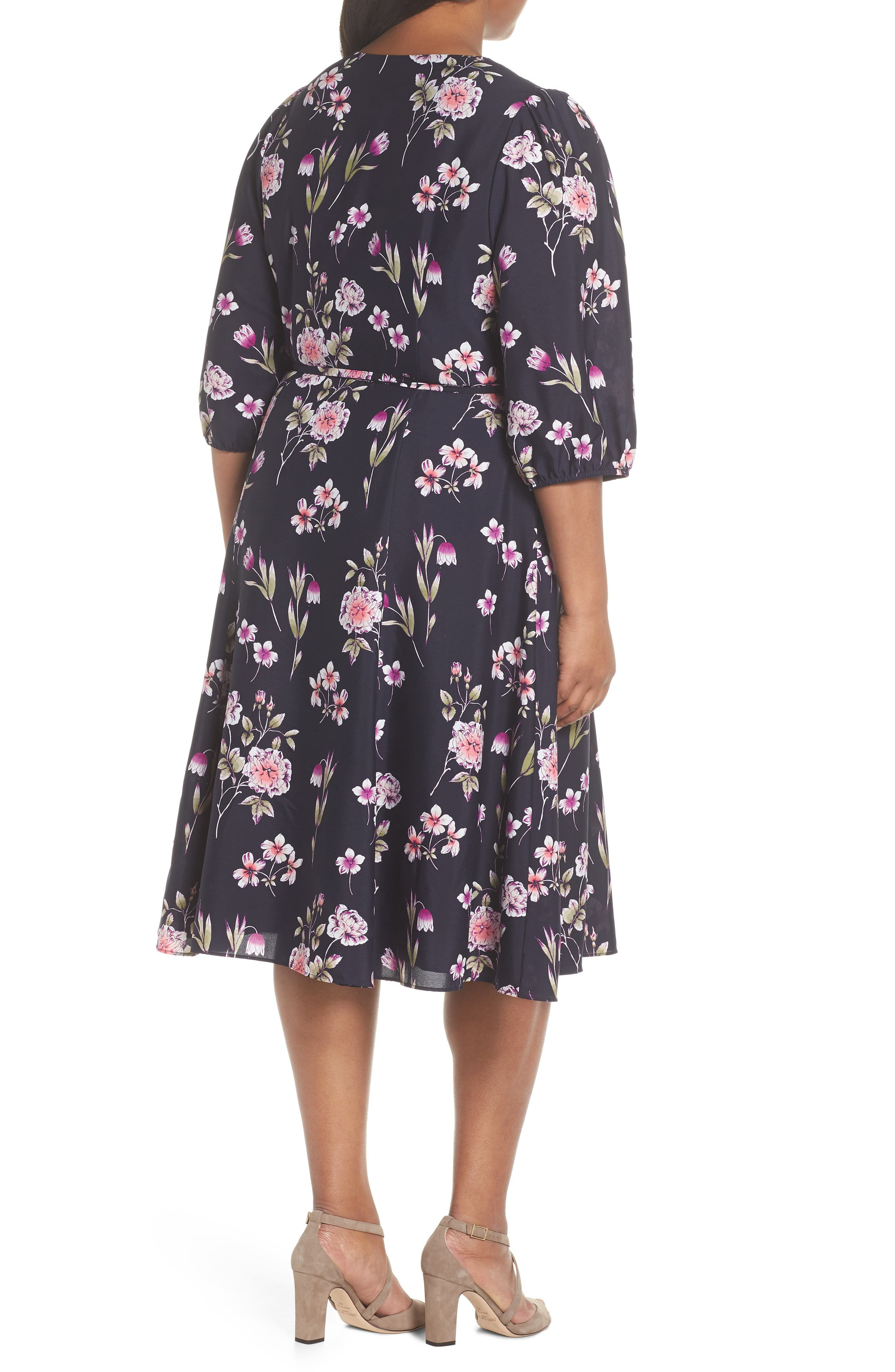 Puff Sleeve Floral Wrap Midi Dress,                             Alternate thumbnail 2, color,                             410