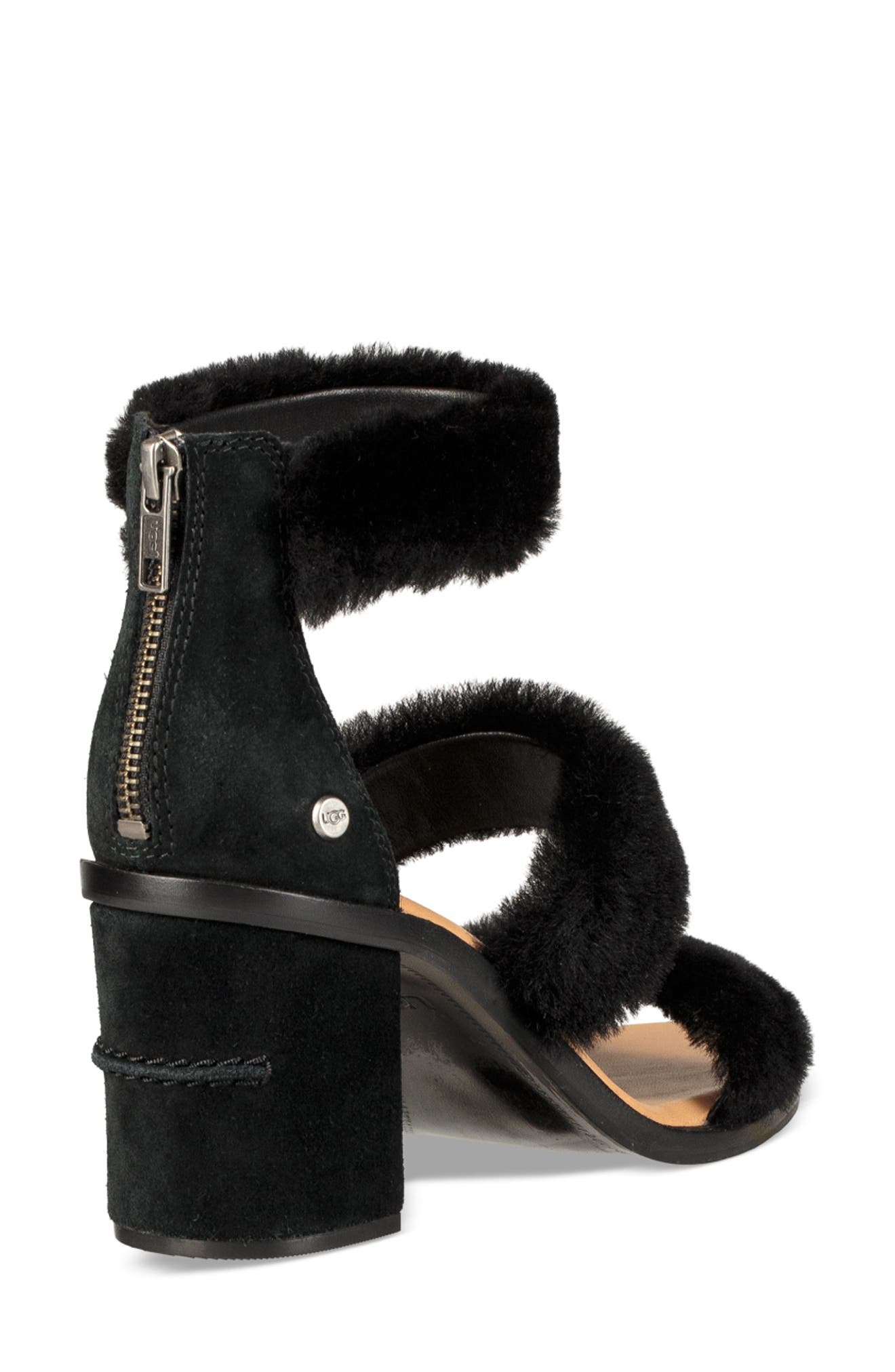 Dey Rey Genuine Shearling Sandal,                             Alternate thumbnail 2, color,                             BLACK