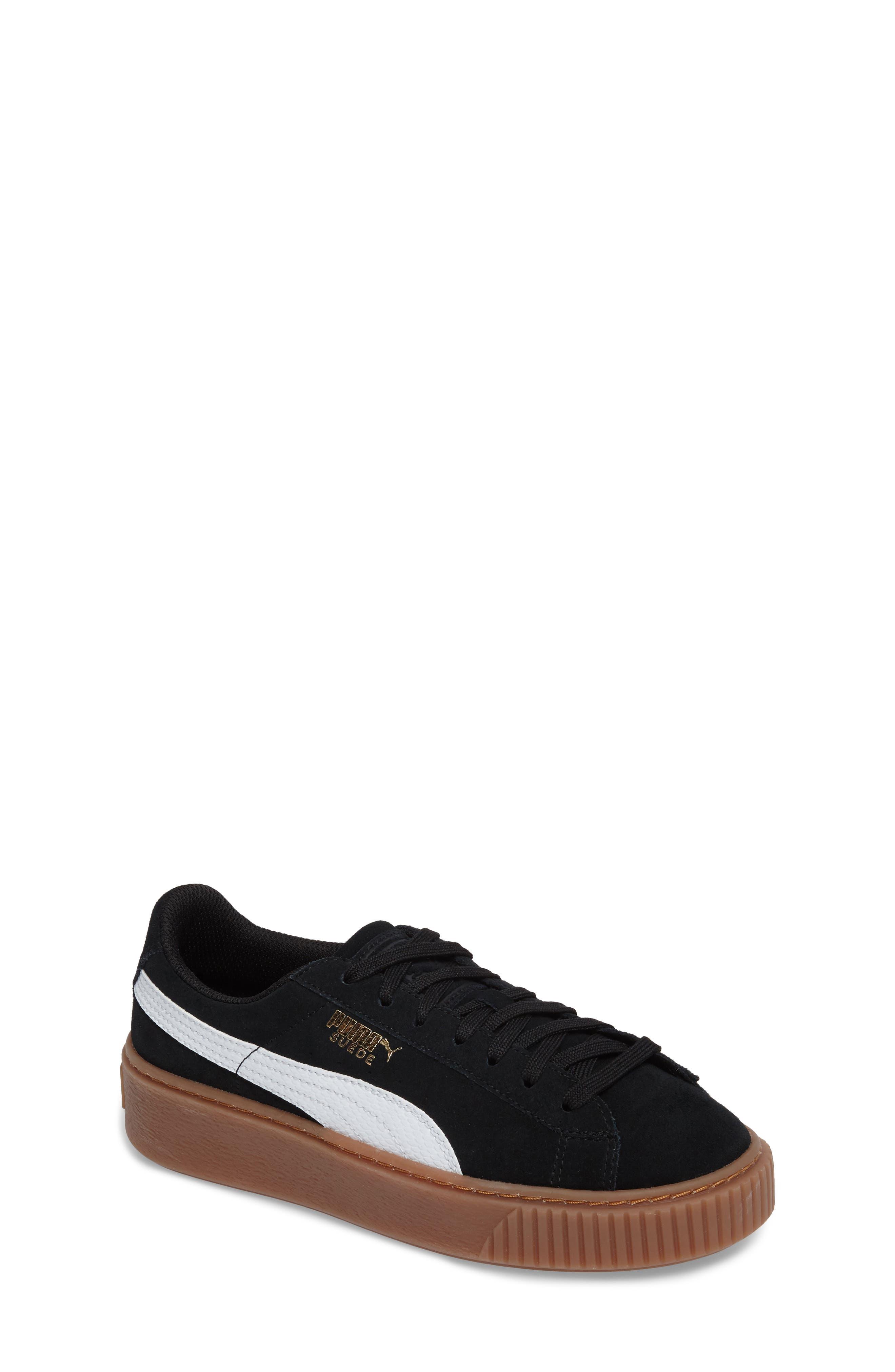 Suede Platform Jr Sneaker,                             Main thumbnail 1, color,                             001