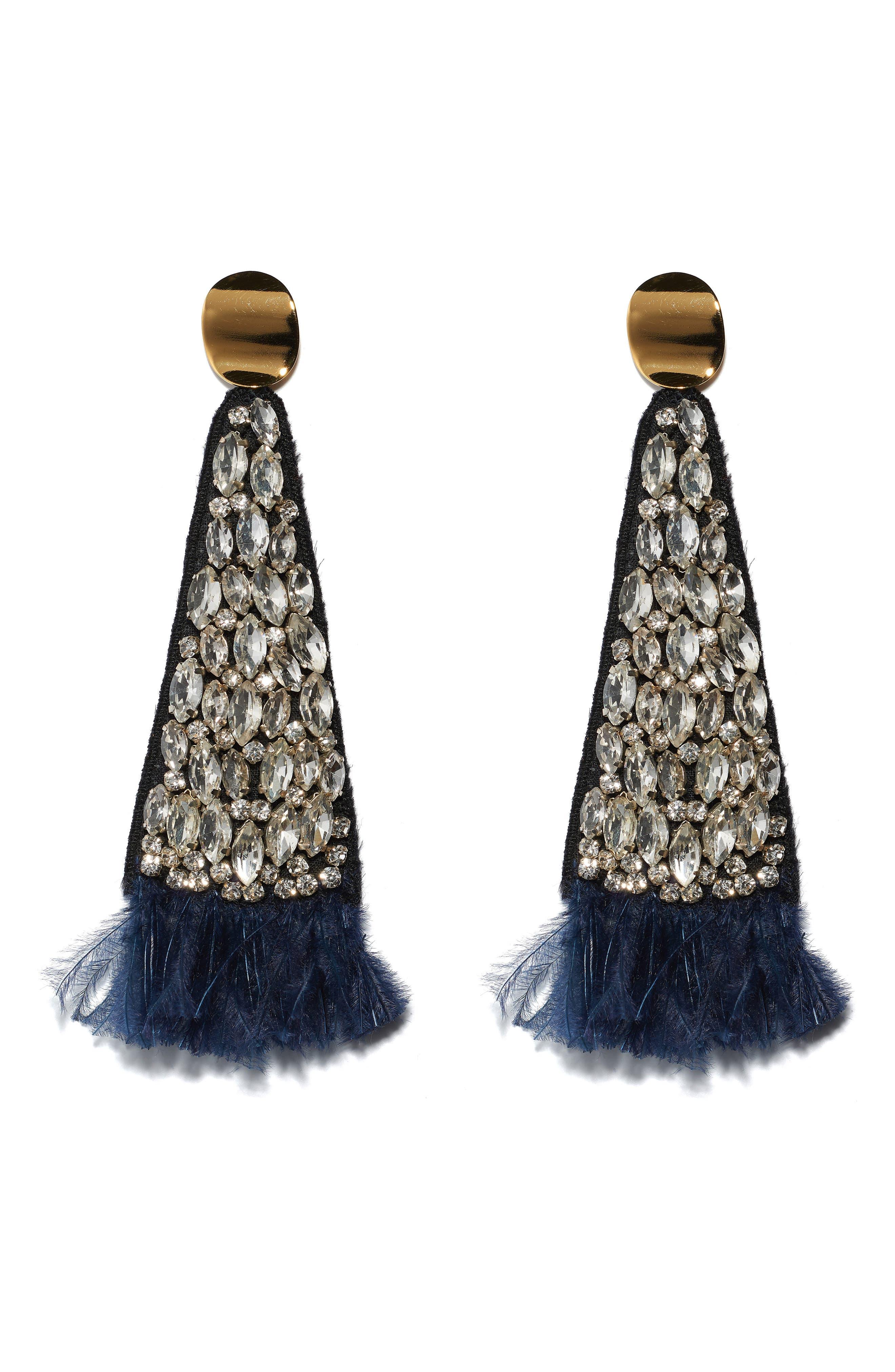 Crystal Fan Earrings,                             Main thumbnail 1, color,                             BLUE MULTI