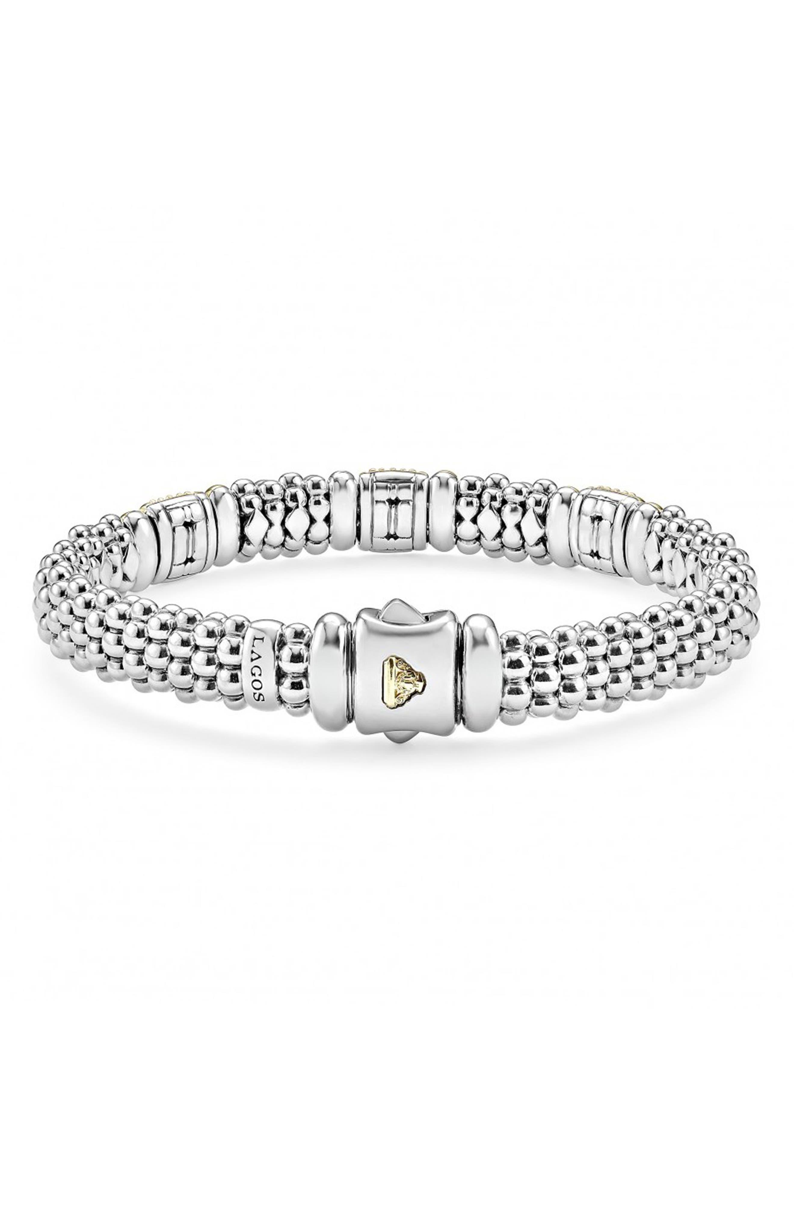 'Caviar' Diamond Station Bracelet,                             Alternate thumbnail 3, color,                             SILVER/ GOLD