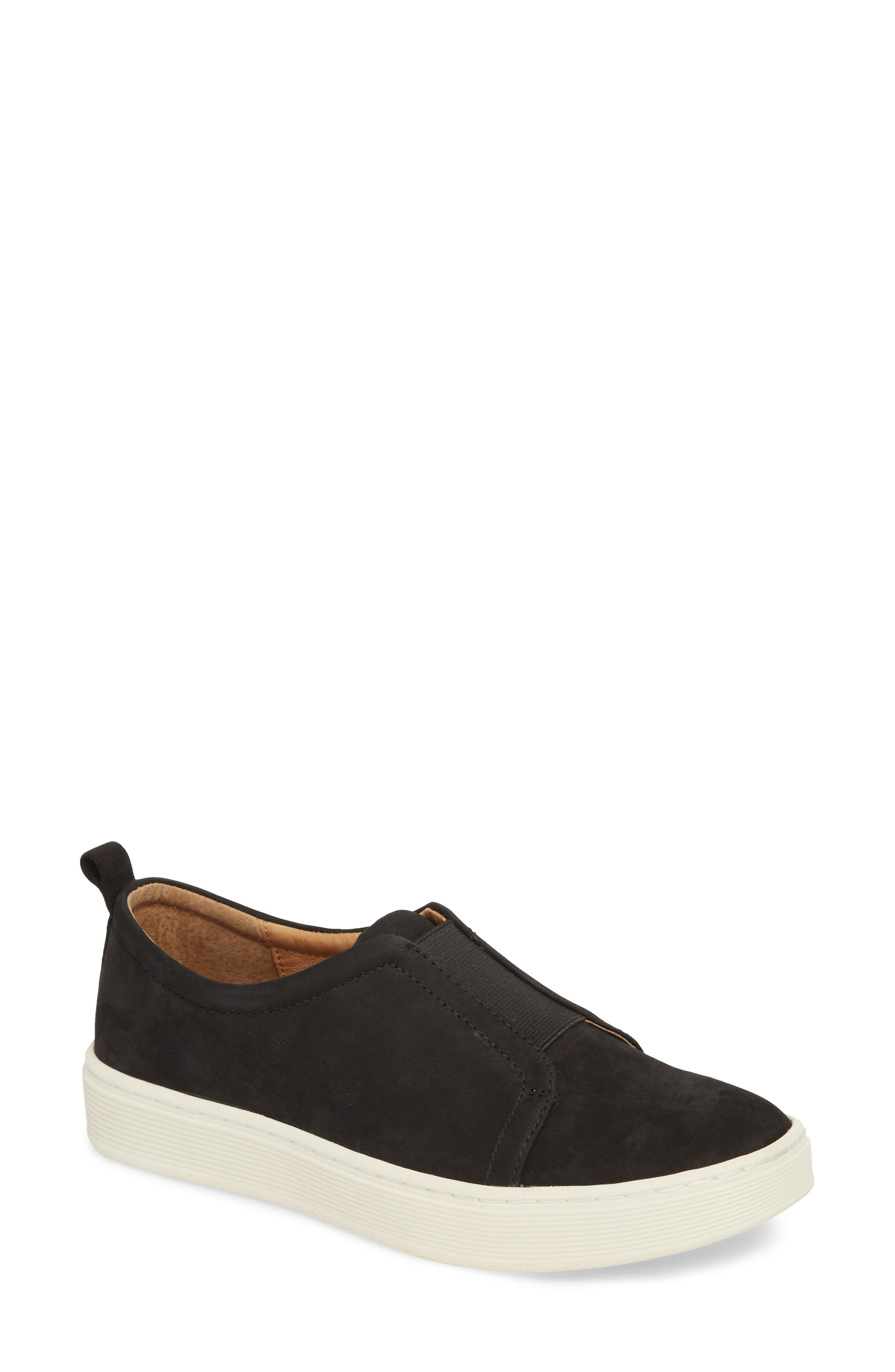 Safia Slip-On Sneaker,                             Main thumbnail 1, color,                             TRUE BLACK LEATHER