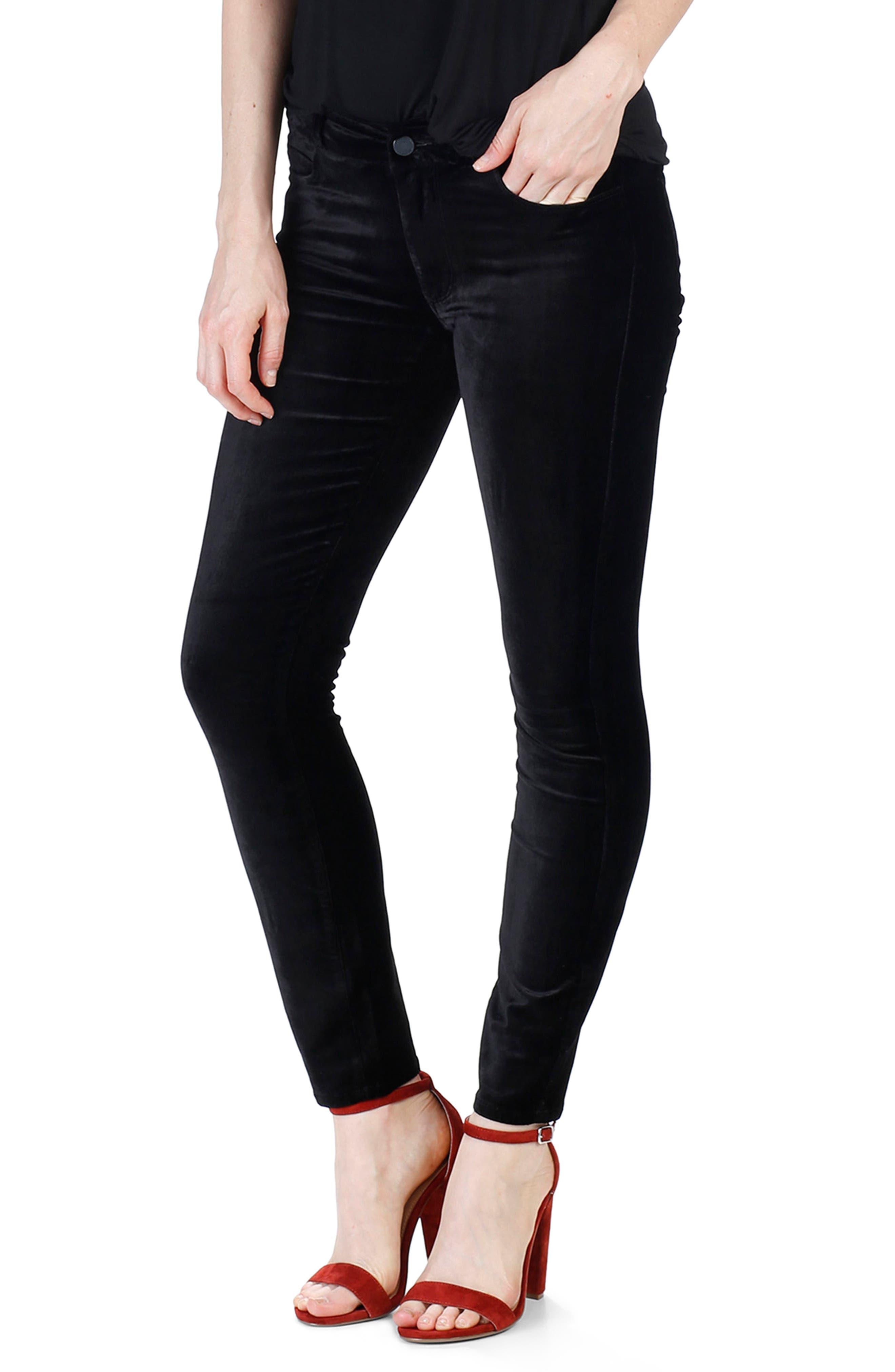 Verdugo Velvet Ankle Skinny Pants,                             Main thumbnail 1, color,                             001