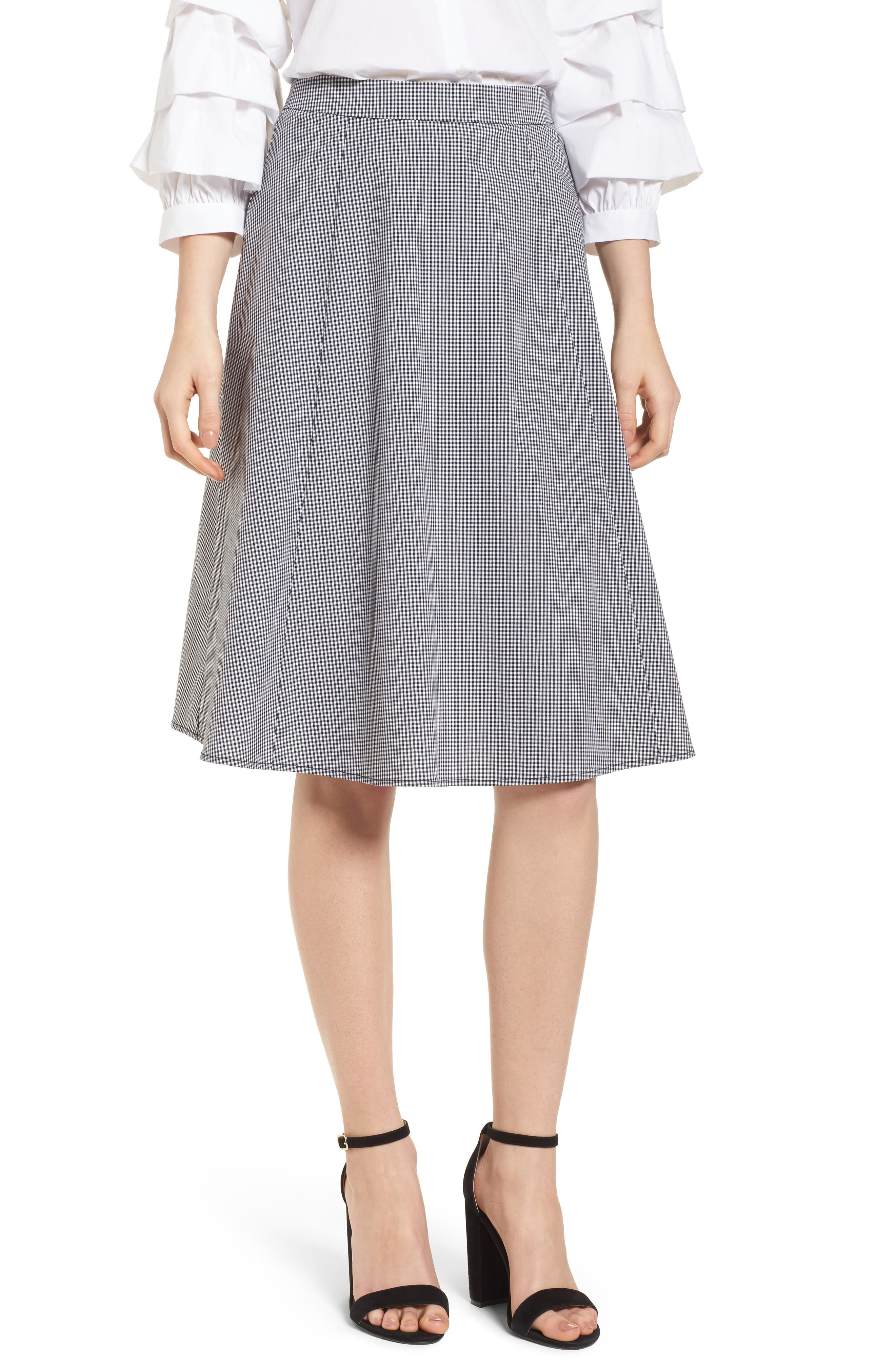 Gingham A-Line Skirt,                         Main,                         color, 001