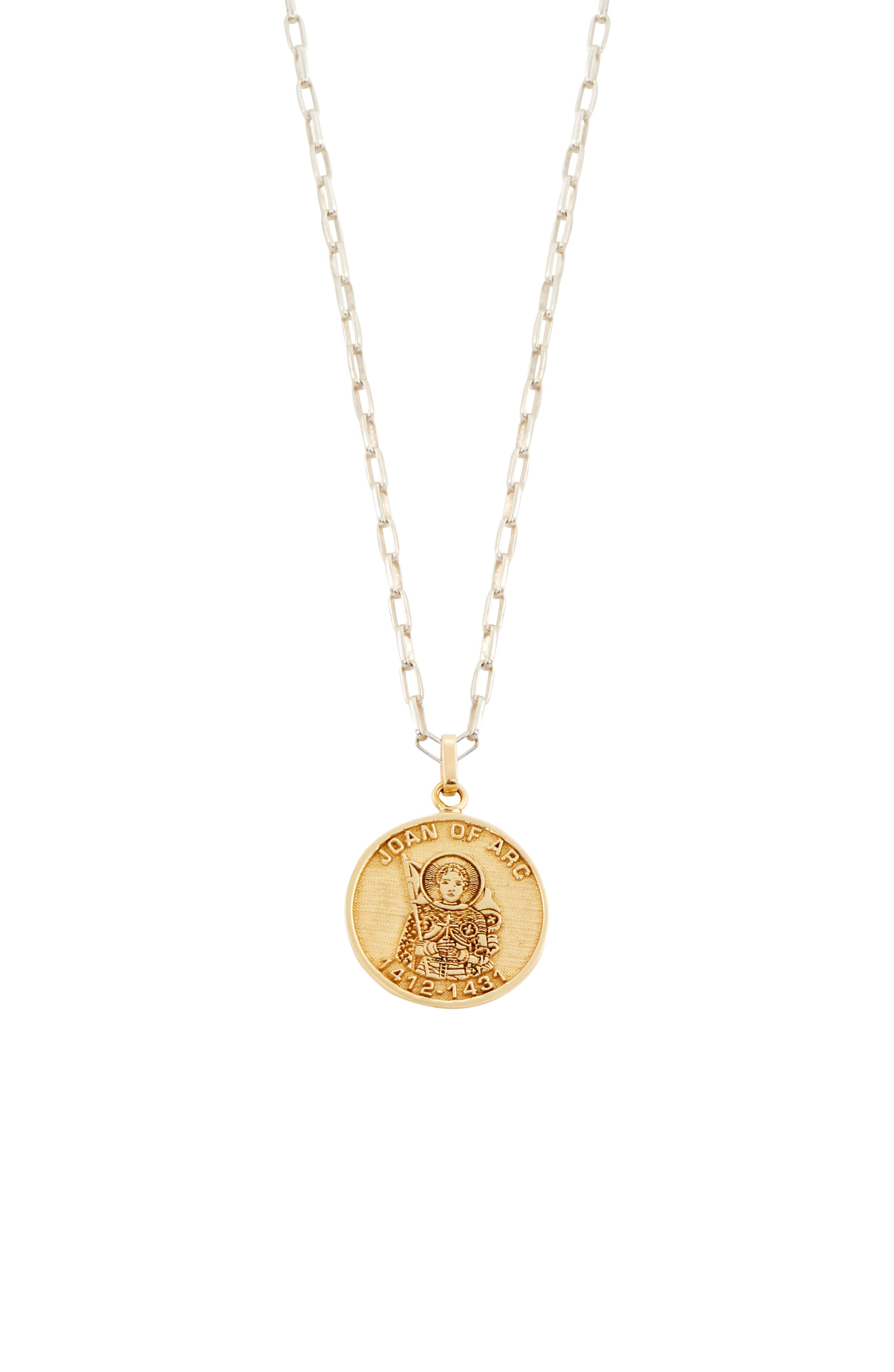 Joan Of Arc Pendant Necklace in Gold/ Silver