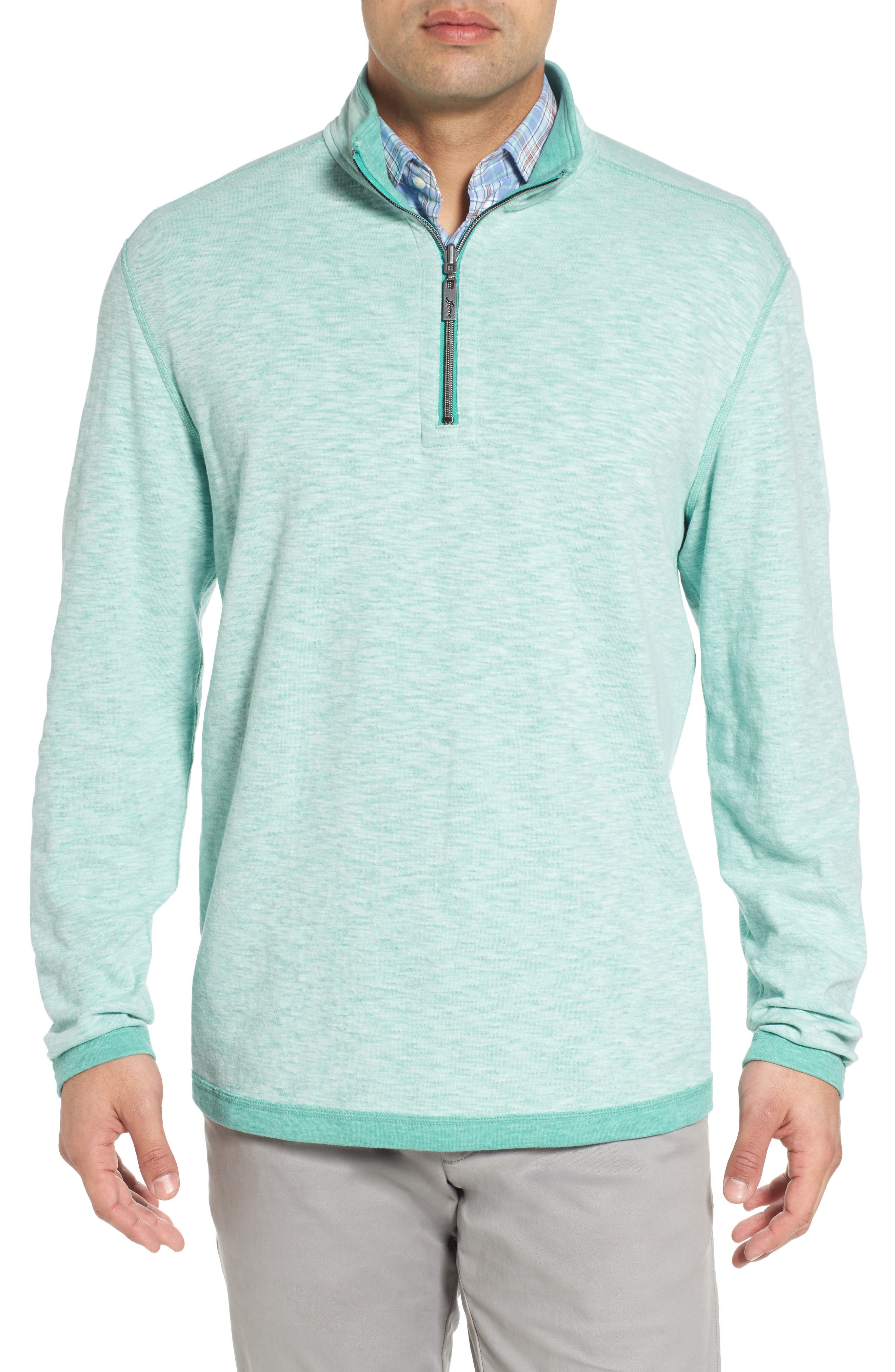 Sea Glass Reversible Quarter Zip Pullover,                             Main thumbnail 2, color,