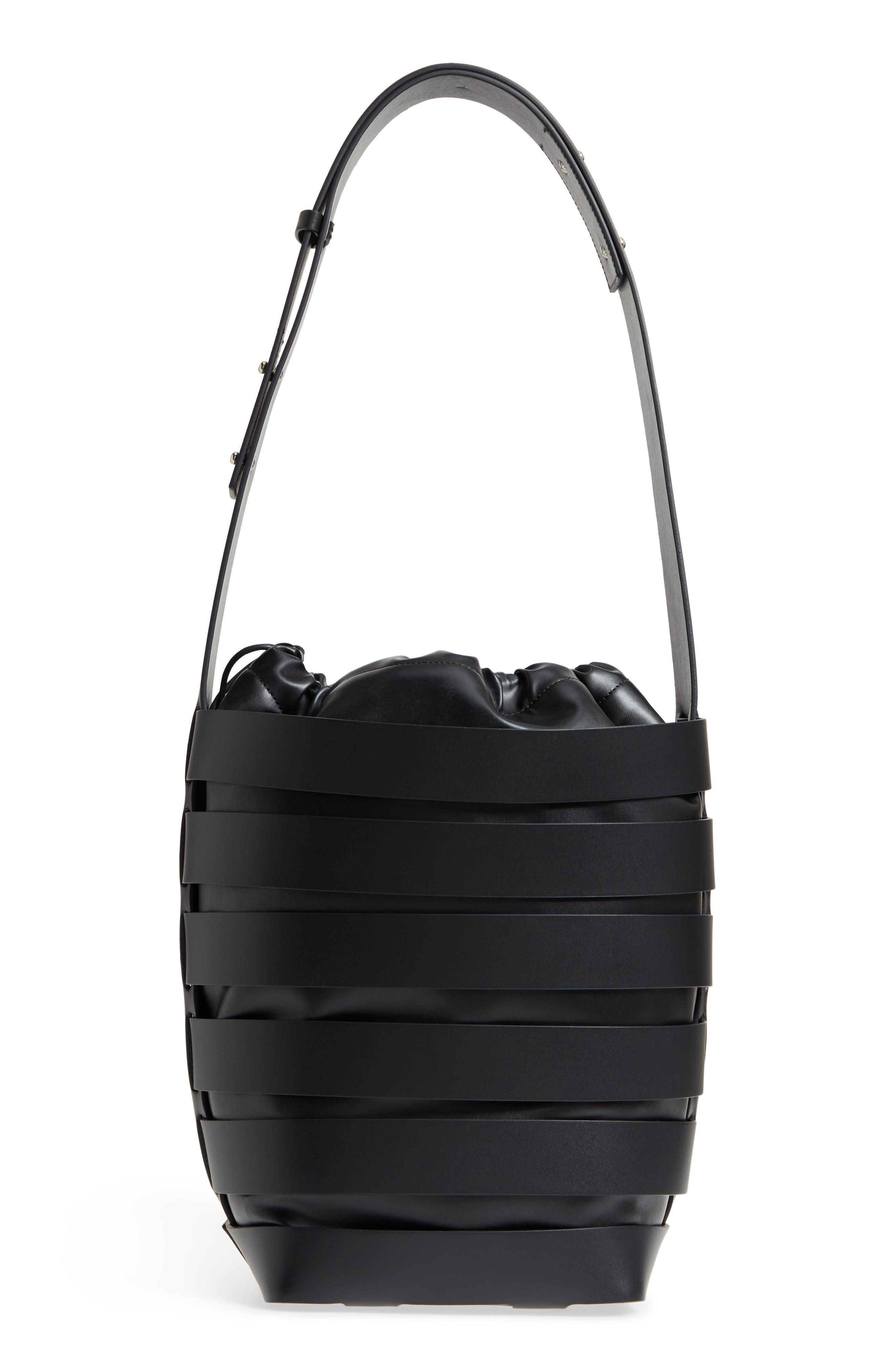 Medium Cage Leather Bucket Bag,                             Alternate thumbnail 3, color,                             001