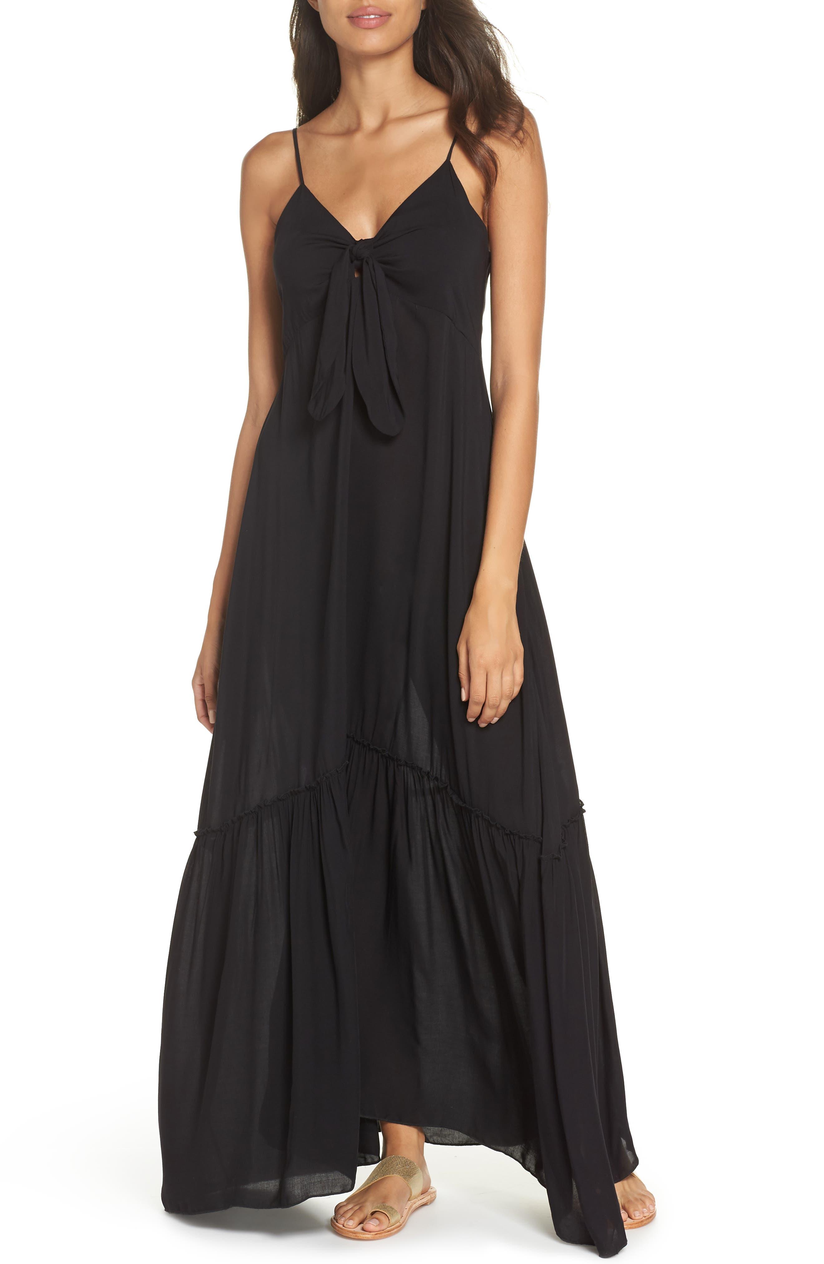 Maxi Cover-Up Dress,                         Main,                         color, BLACK
