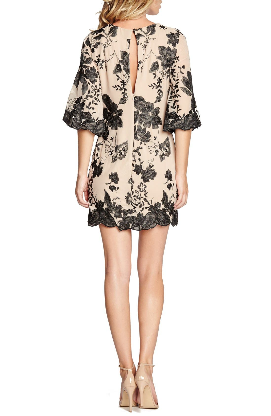 'Paige' Metallic Embroidered Chiffon Shift Dress,                             Alternate thumbnail 3, color,                             259