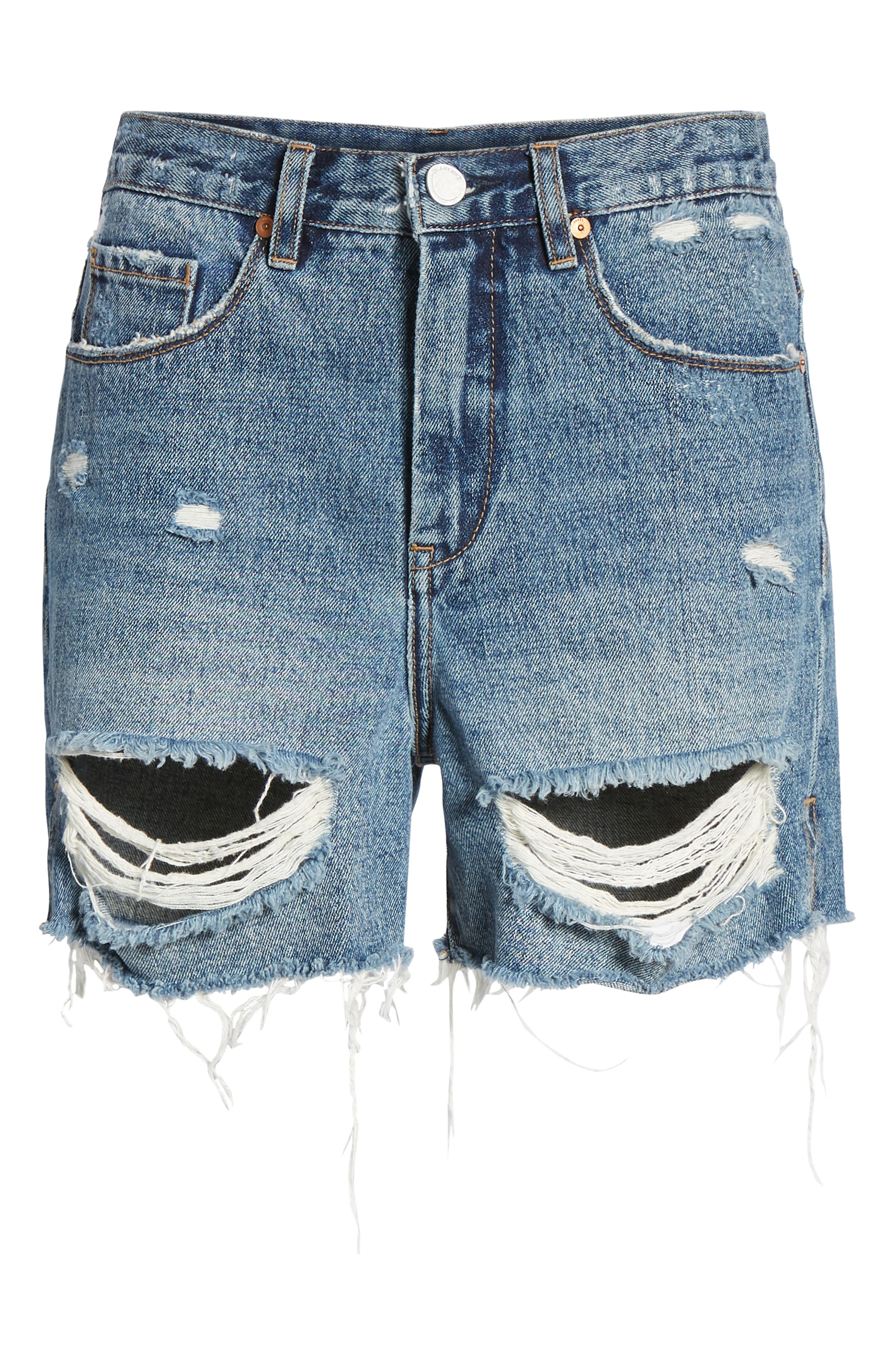 Ripped High Waist Denim Mom Shorts,                             Alternate thumbnail 7, color,                             CYBER HOARDER