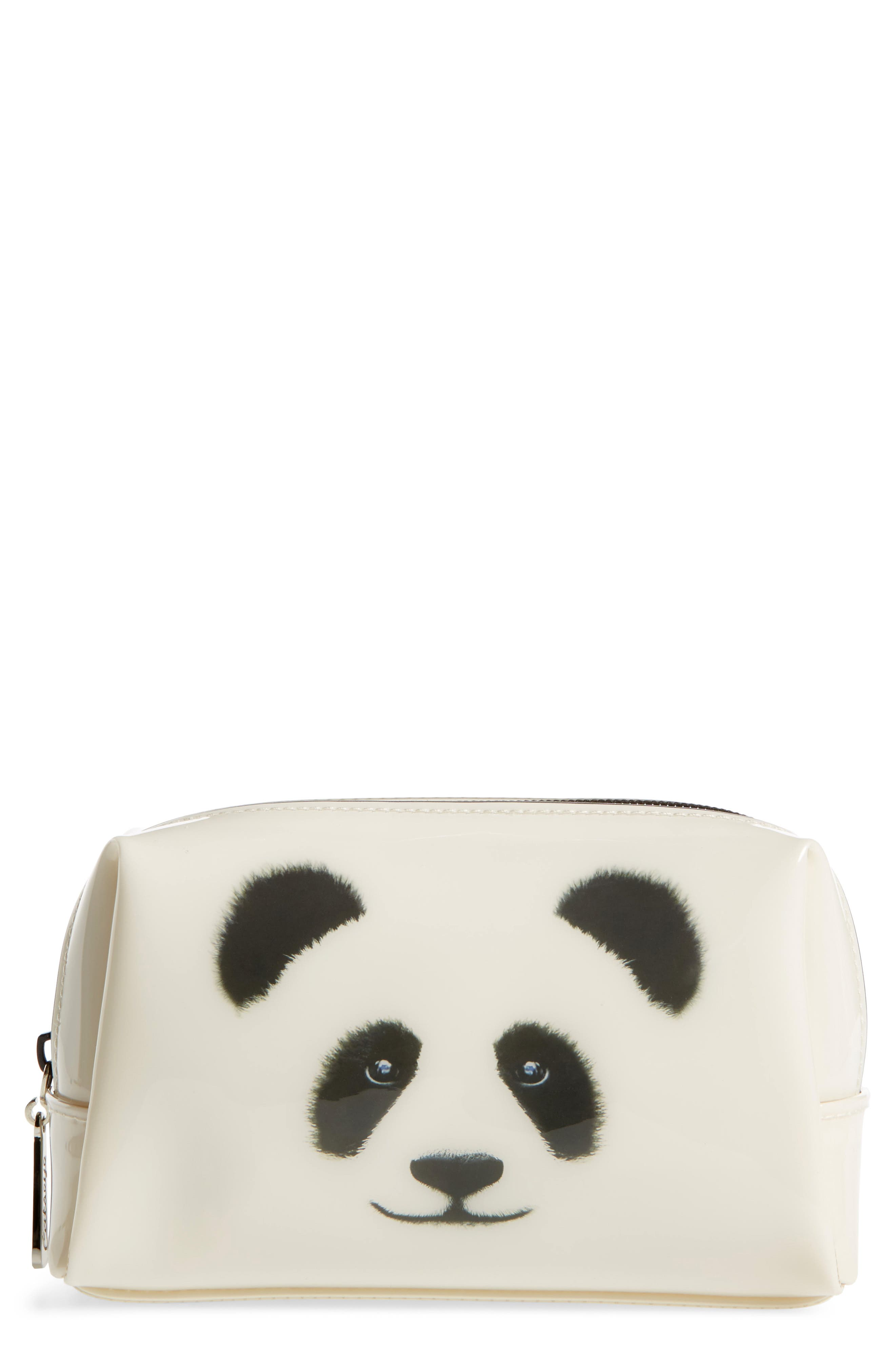 Monochrome Panda Cosmetics Bag,                             Main thumbnail 1, color,                             101