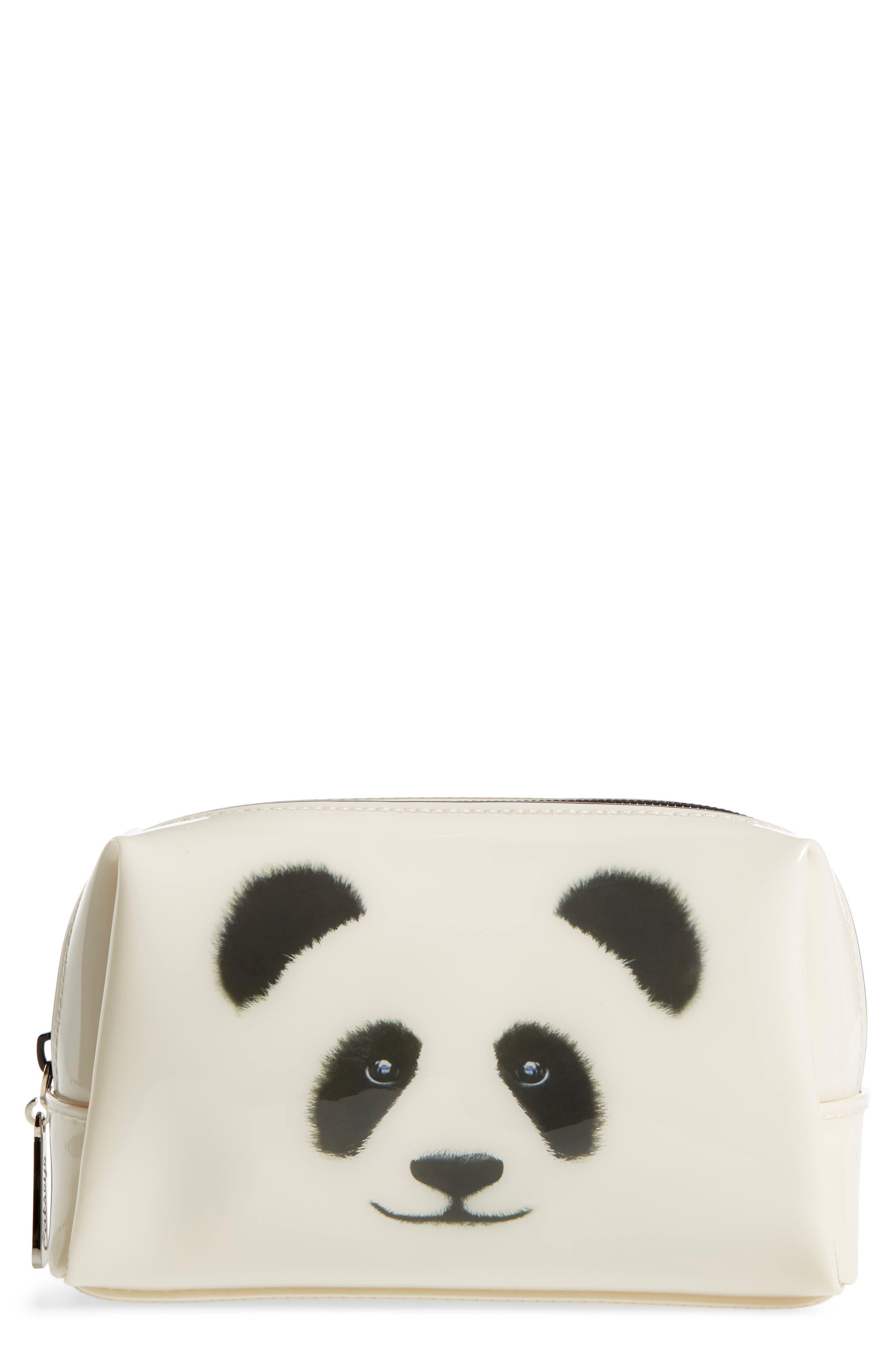 Monochrome Panda Cosmetics Bag,                         Main,                         color, 101