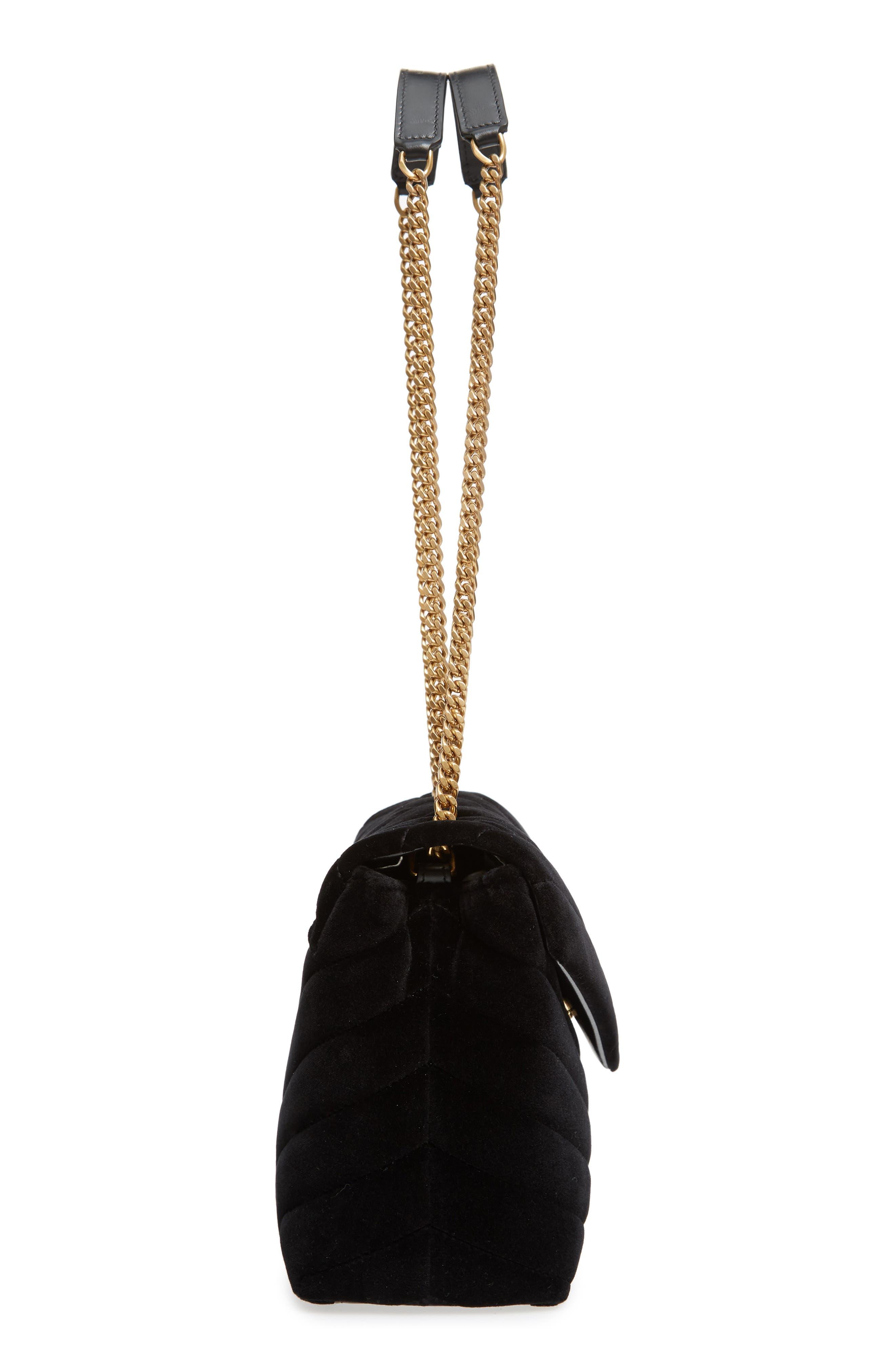 SAINT LAURENT,                             Small Loulou Velvet Shoulder Bag,                             Alternate thumbnail 5, color,                             NERO/ NERO/ NERO