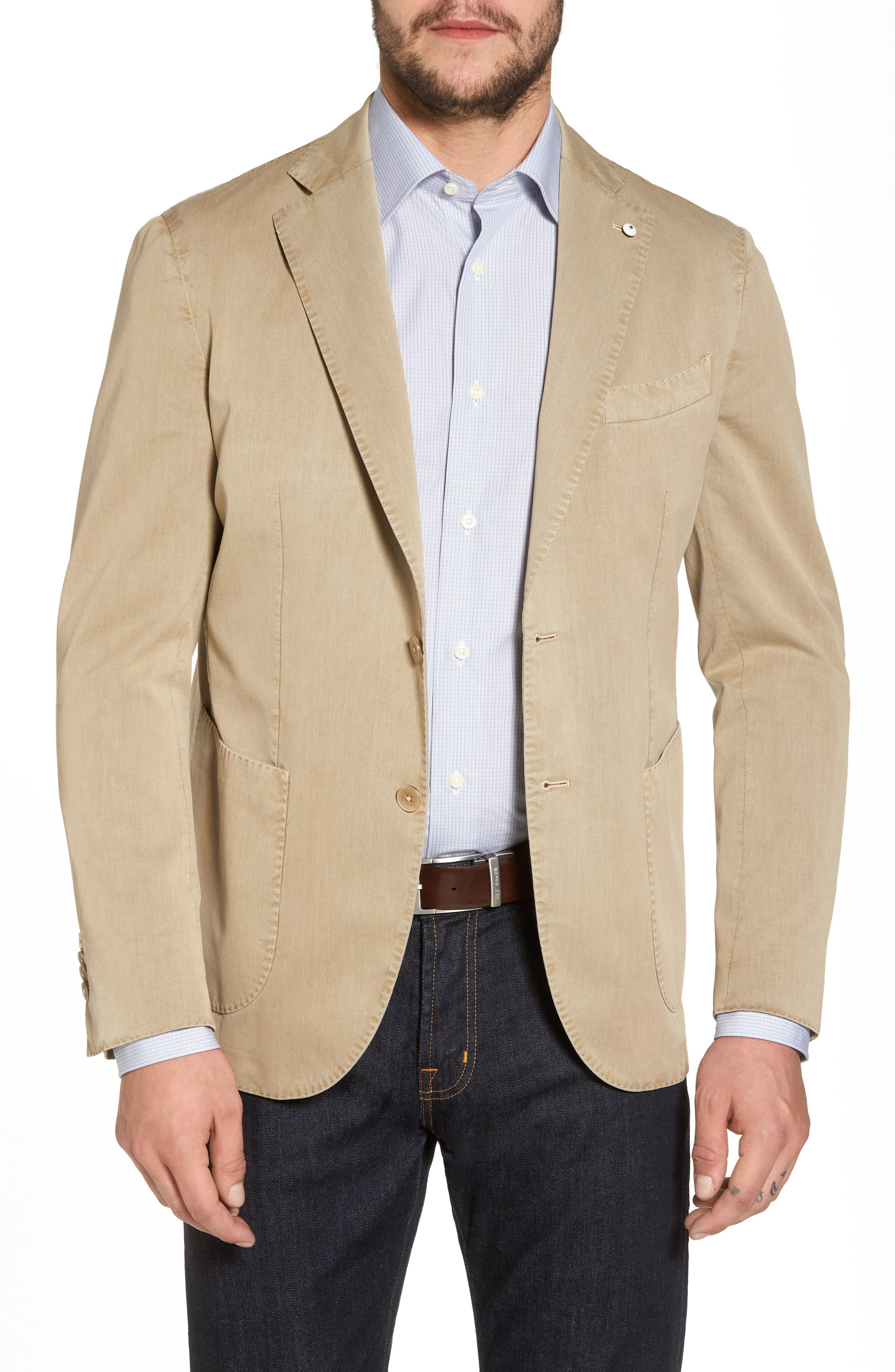 Classic Fit Cotton & Silk Blazer,                         Main,                         color,