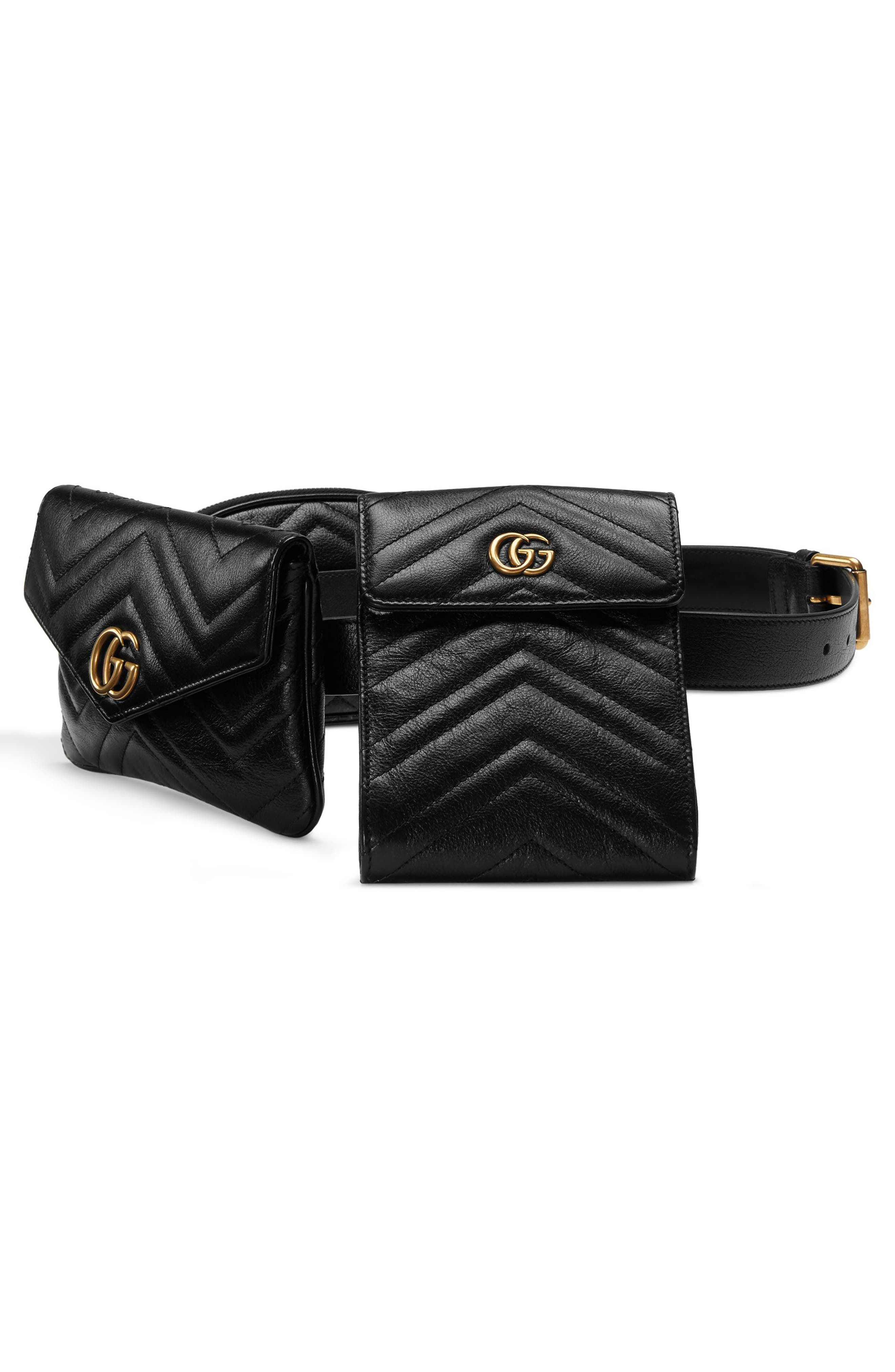 GG Marmont 2.0 Matelassé Triple Pouch Leather Belt Bag,                             Alternate thumbnail 4, color,                             001