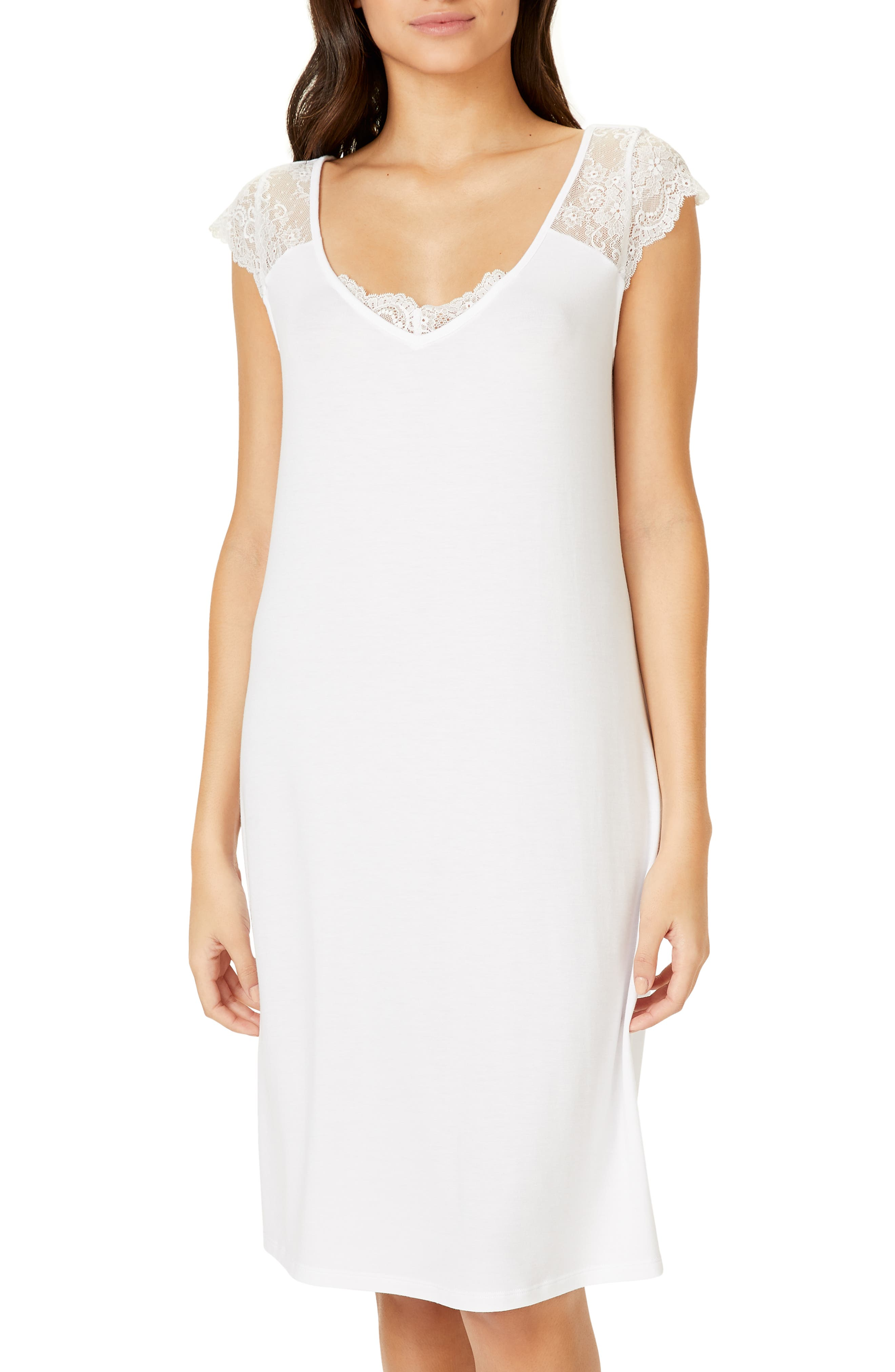 The White Company Lace Sleeve Nightgown, Ivory