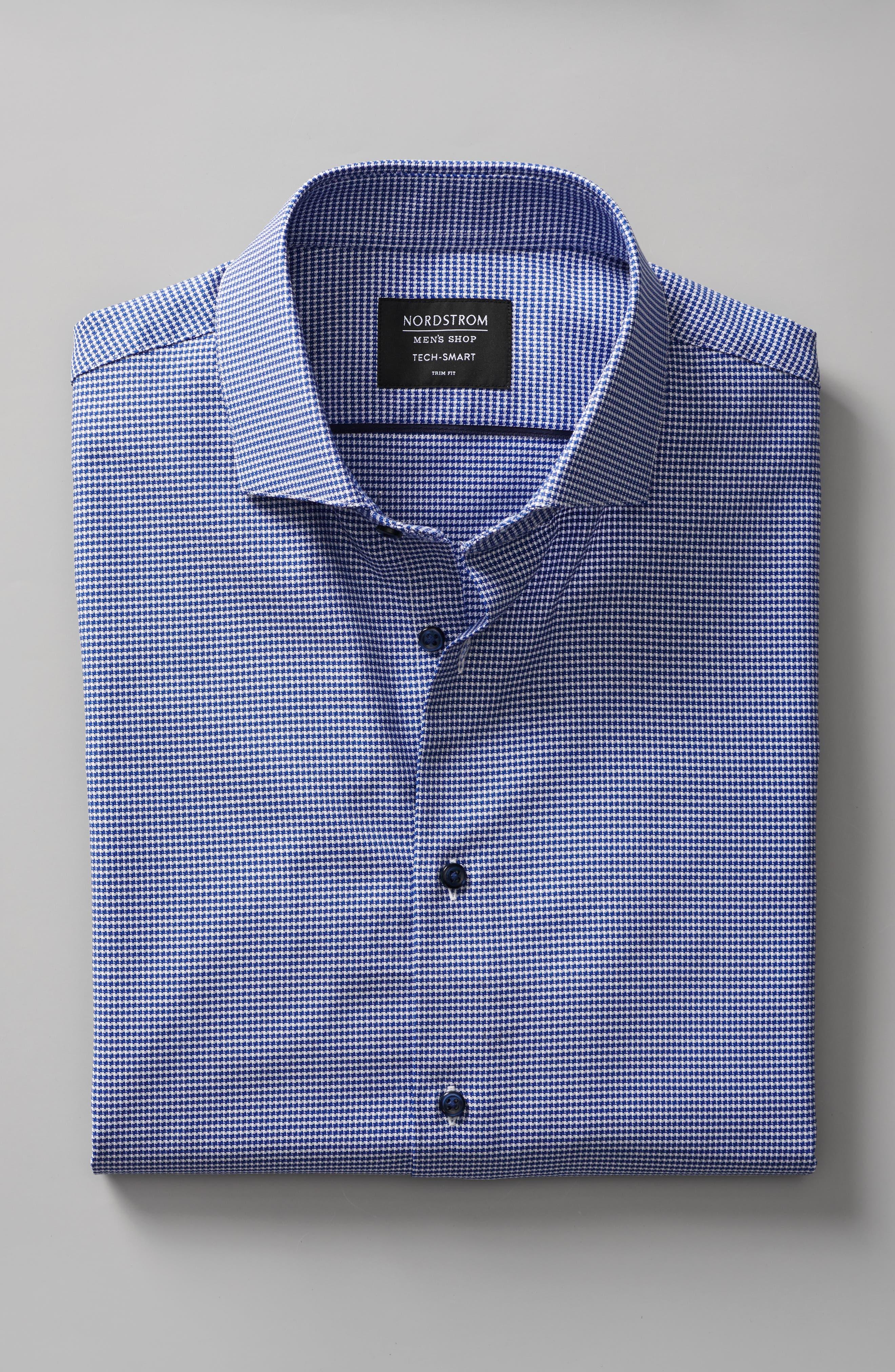 NORDSTROM MEN'S SHOP,                             Tech-Smart Trim Fit Stretch Texture Dress Shirt,                             Alternate thumbnail 9, color,                             BLUE HYDRANGEA