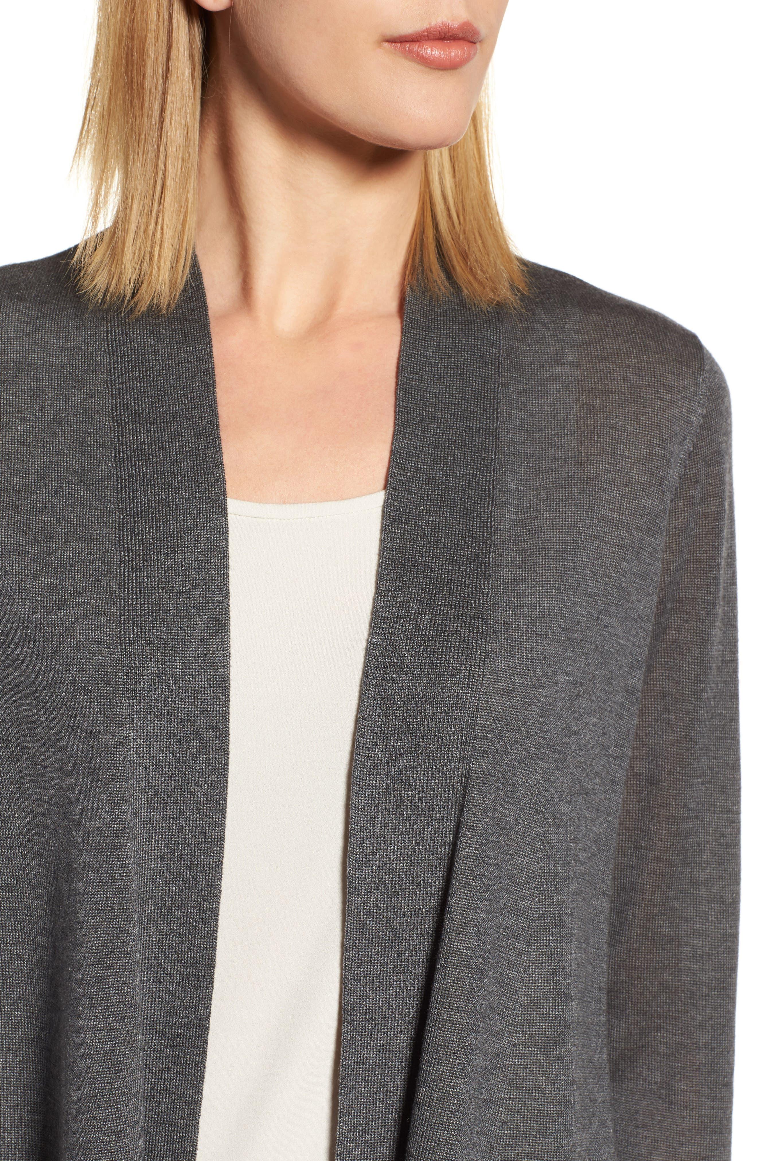 Tencel<sup>®</sup> Lyocell & Merino Wool Shaped Cardigan,                             Alternate thumbnail 4, color,                             030