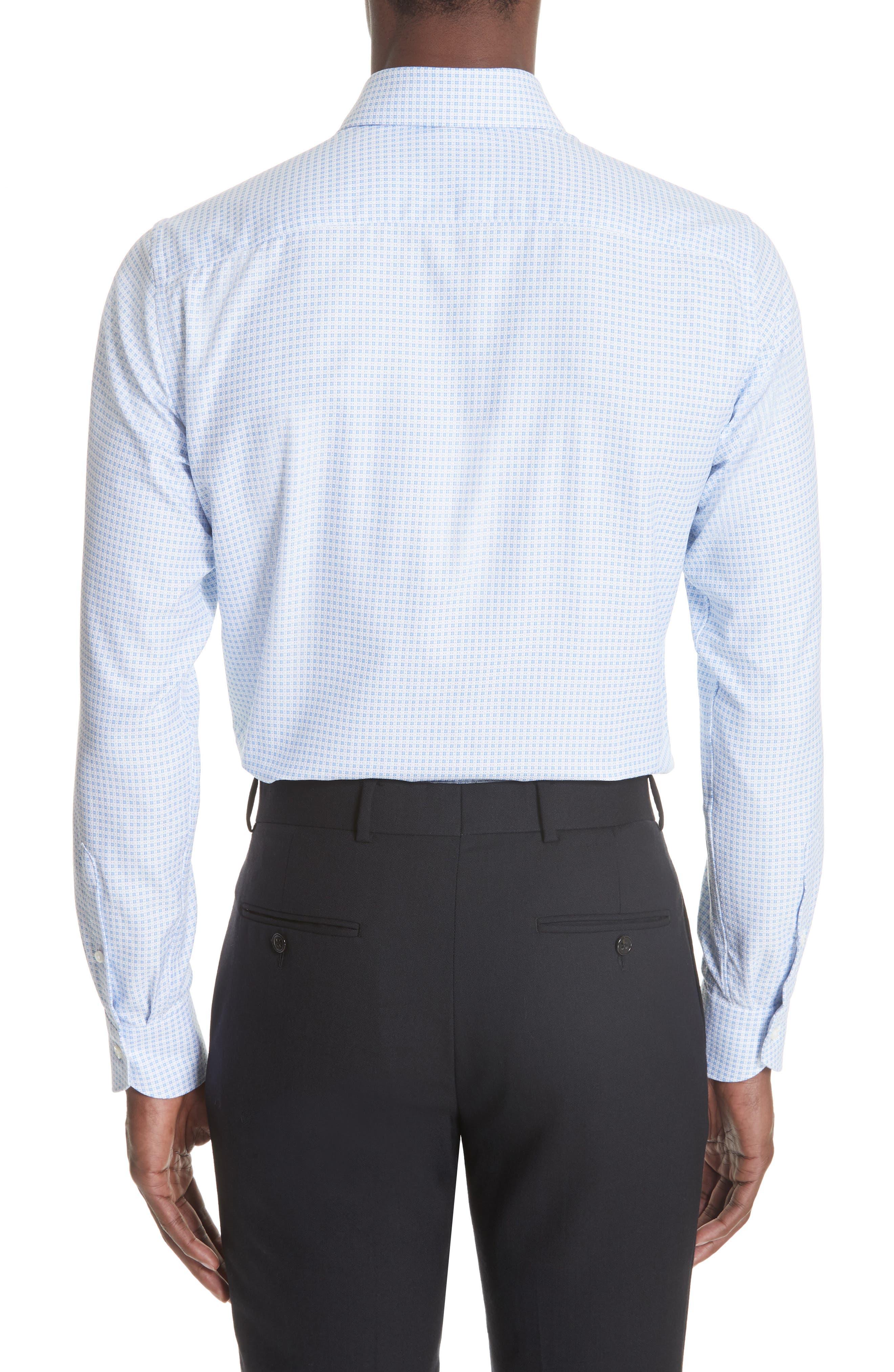 Trim Fit Check Dress Shirt,                             Alternate thumbnail 3, color,                             BRIGHT BLUE