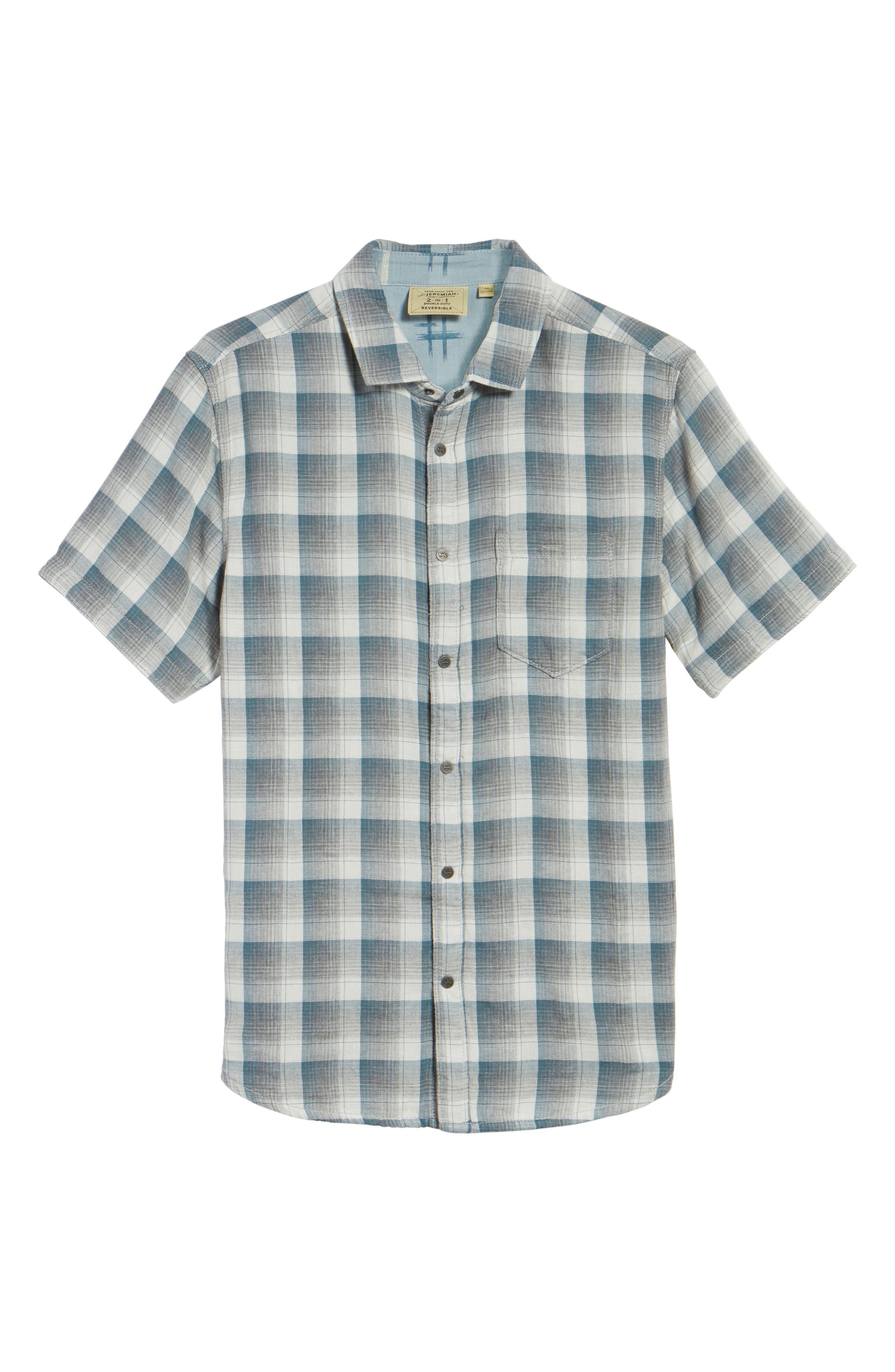 Clark Regular Fit Reversible Plaid Sport Shirt,                             Alternate thumbnail 6, color,                             406
