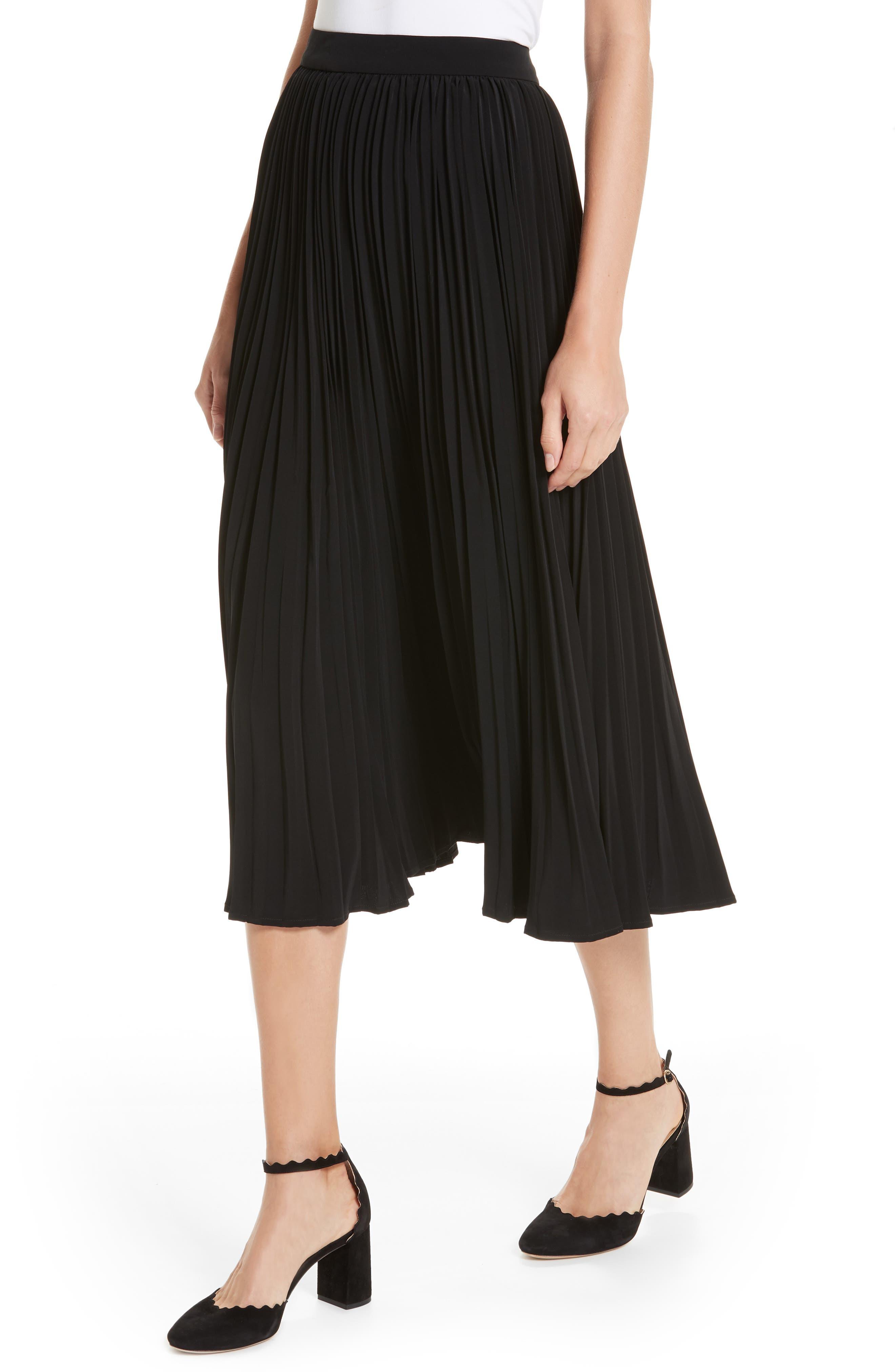 Essentials Pleated Midi Skirt,                             Alternate thumbnail 4, color,                             BLACK