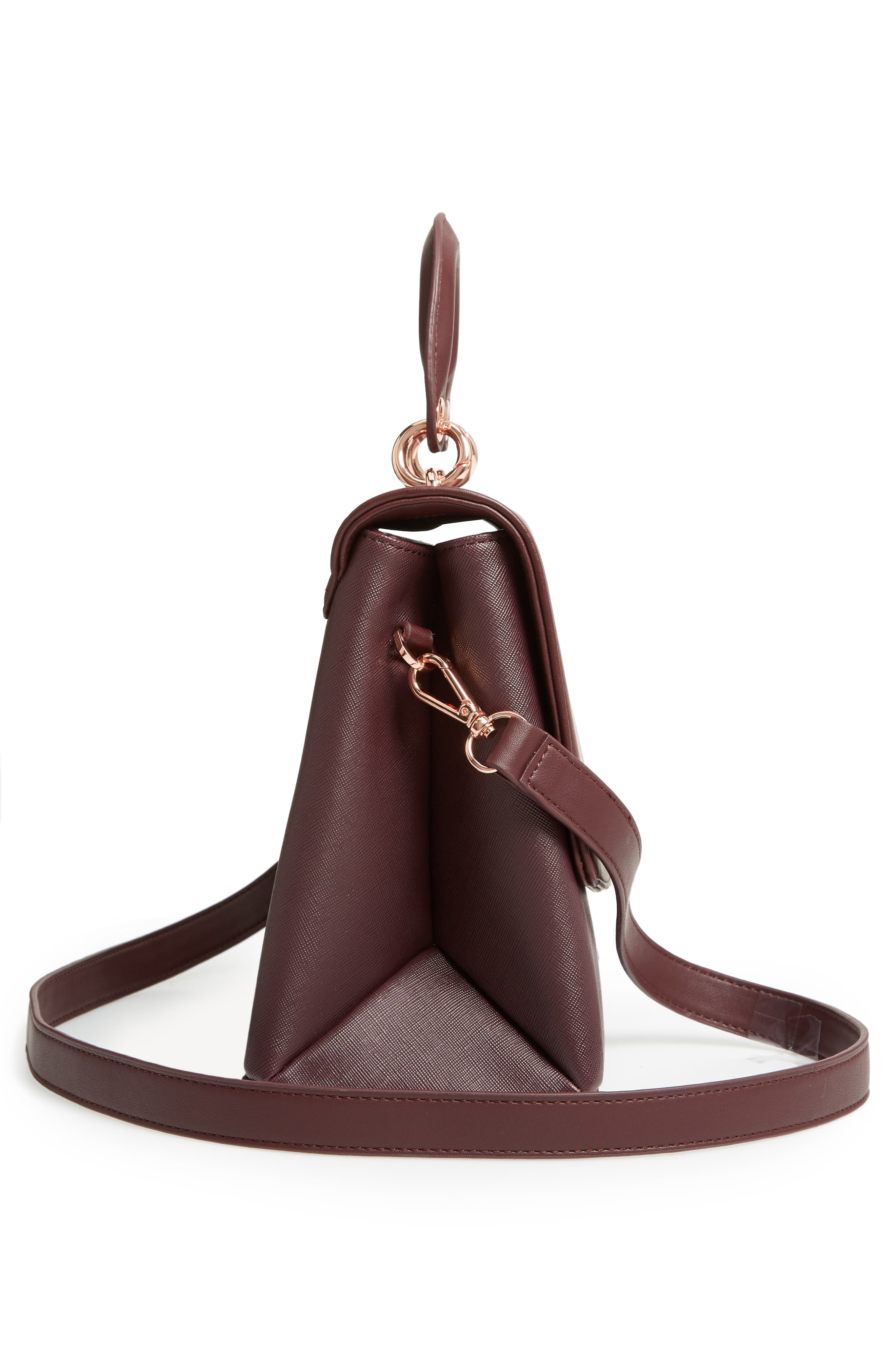 Keiira Lady Bag Faux Leather Top Handle Satchel,                             Alternate thumbnail 5, color,                             DEEP PURPLE