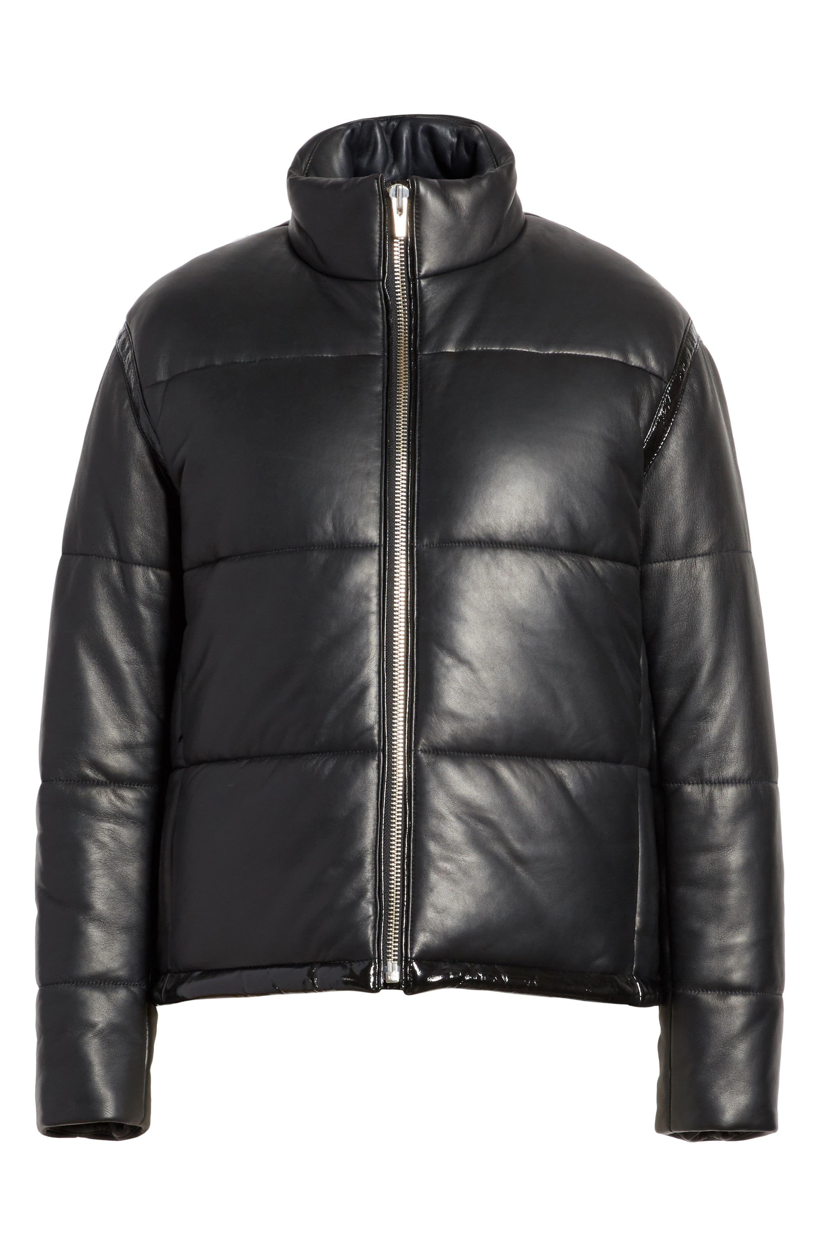 Power Puff Leather Jacket,                             Alternate thumbnail 5, color,                             001