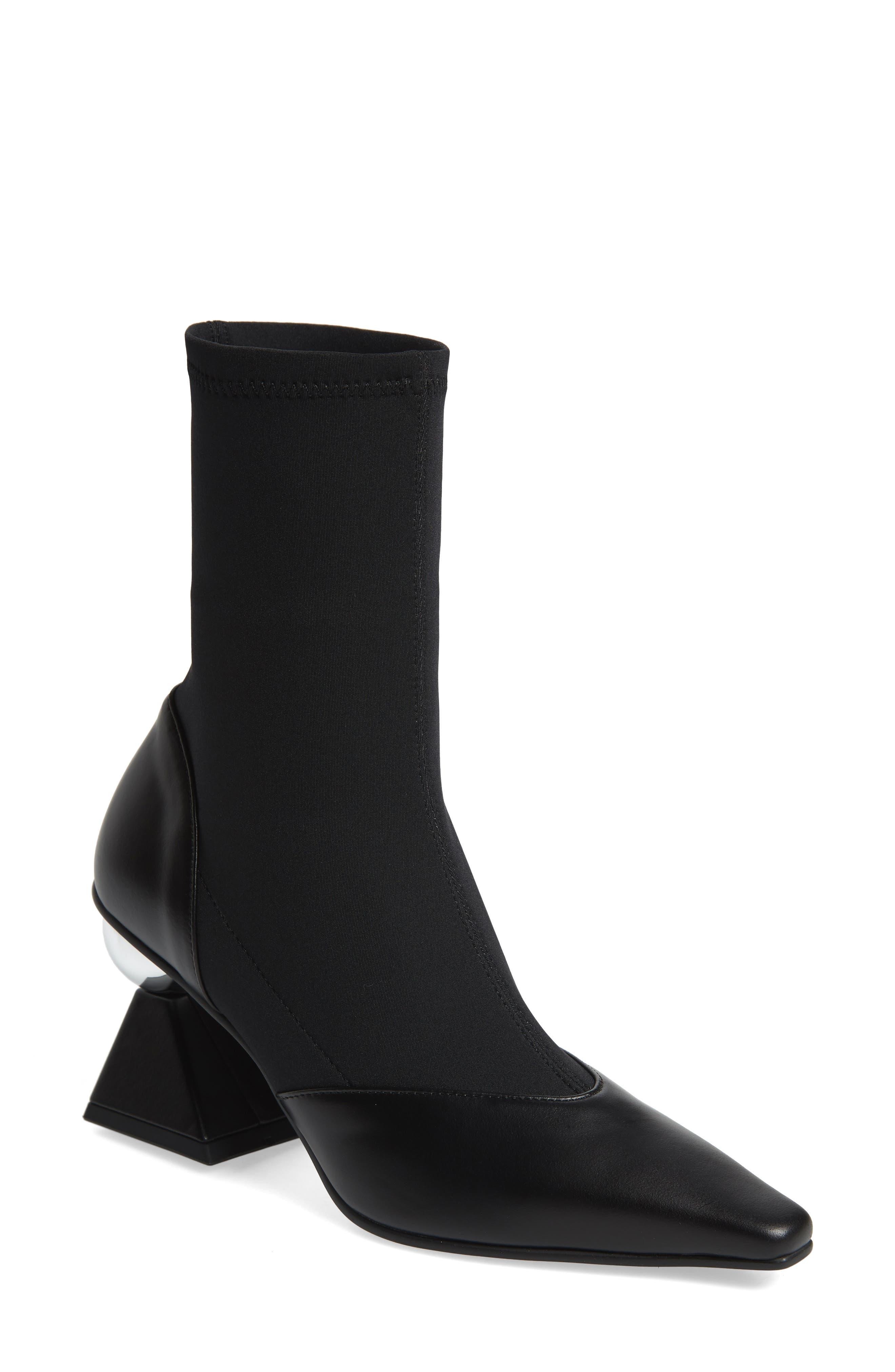 Statement Heel Sock Bootie,                         Main,                         color, BLACK/ SILVER