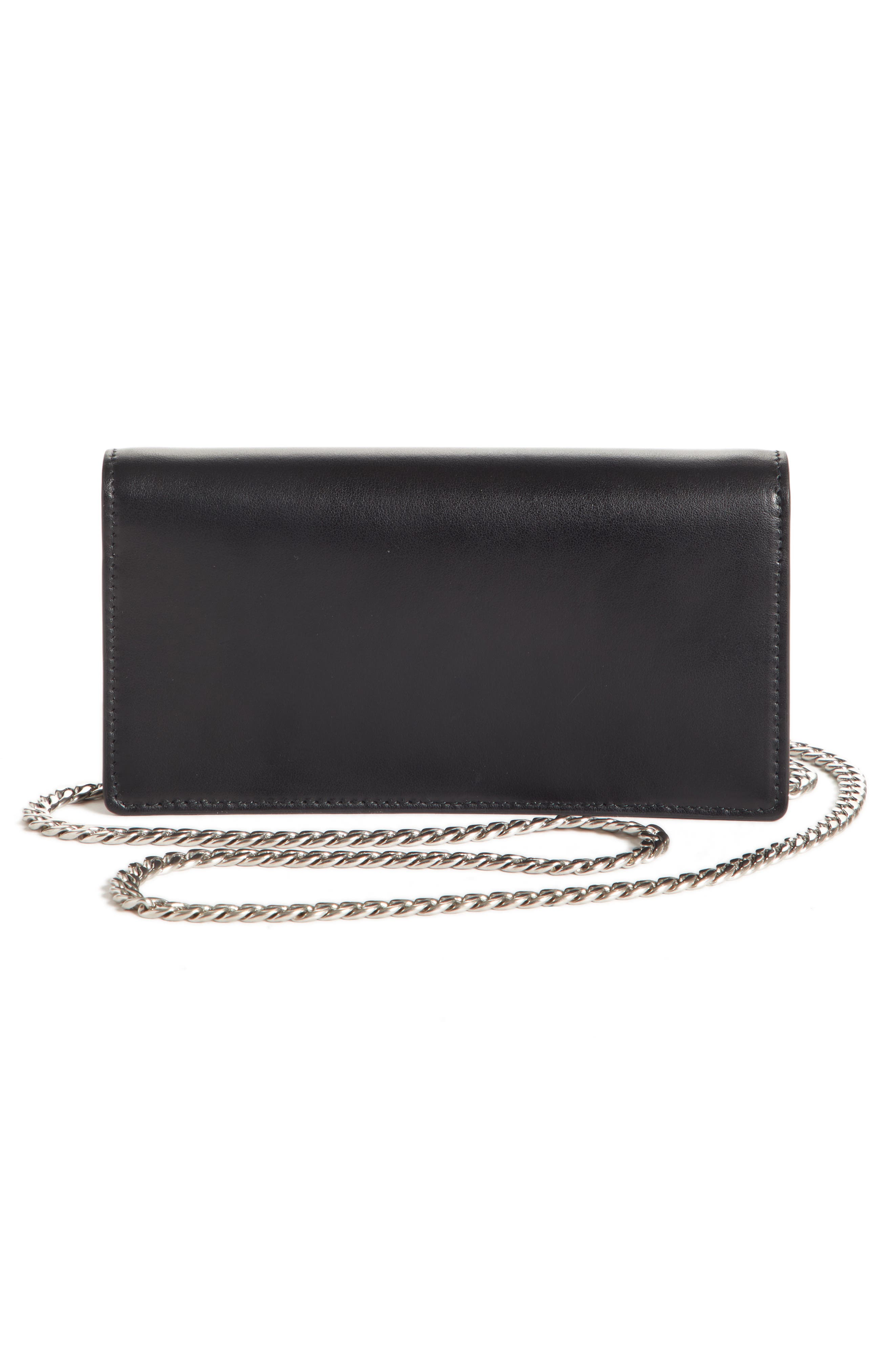 City Leather Wallet on a Chain,                             Alternate thumbnail 3, color,                             NERO/ FUXIA