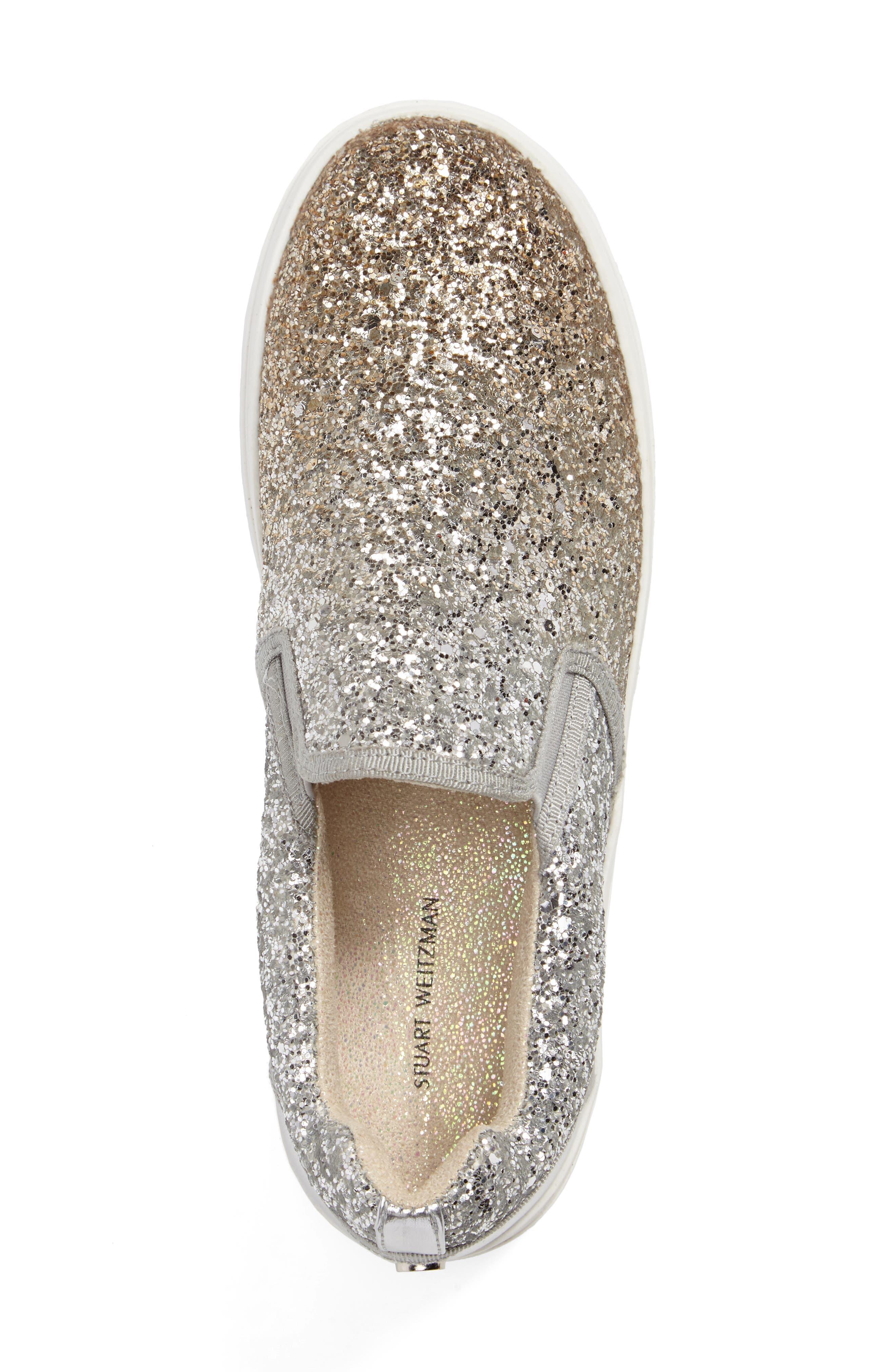 Double Marcia Glitter Platform Sneaker,                             Alternate thumbnail 3, color,                             040