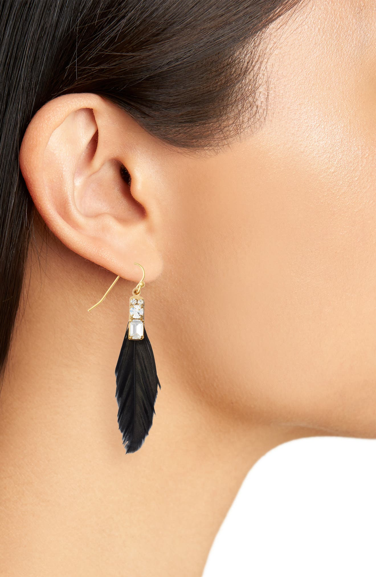 Tiny Feather Earring,                             Alternate thumbnail 2, color,                             001