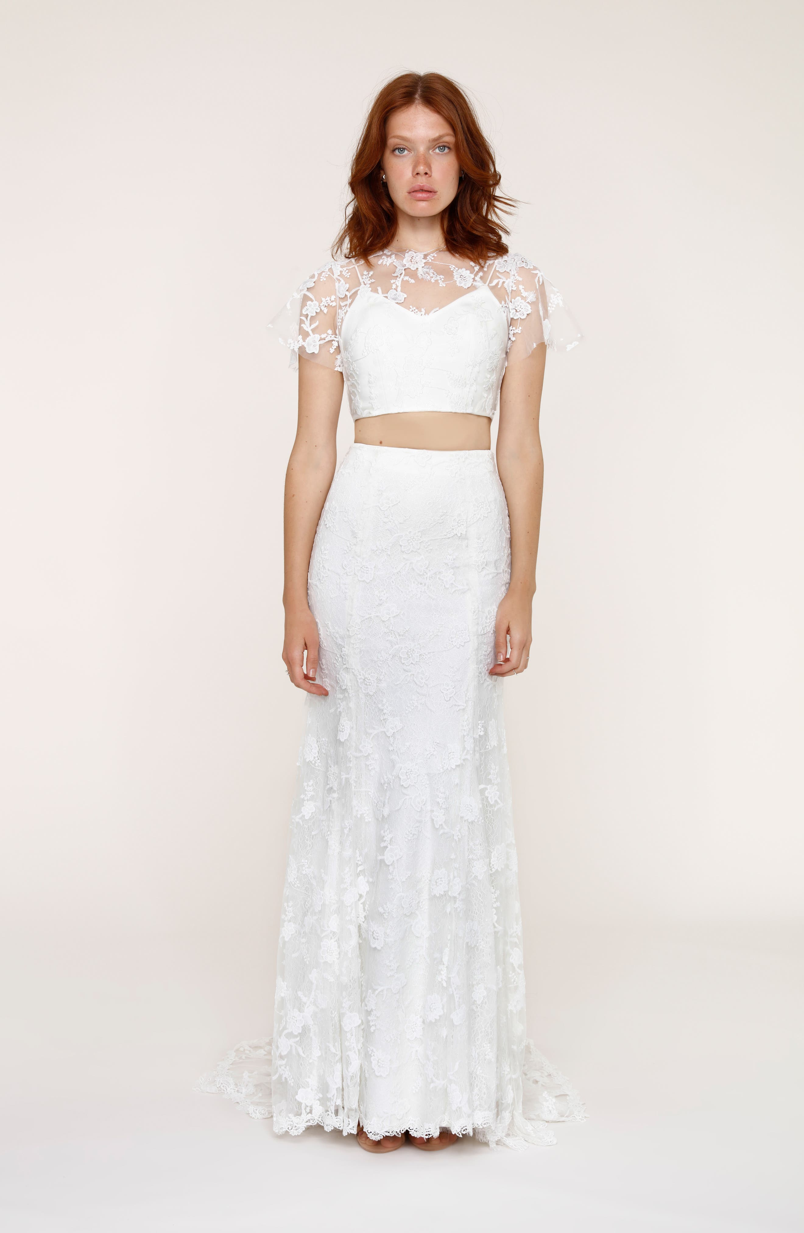 Maddie Lace Two-Piece Mermaid Gown,                             Main thumbnail 1, color,                             101