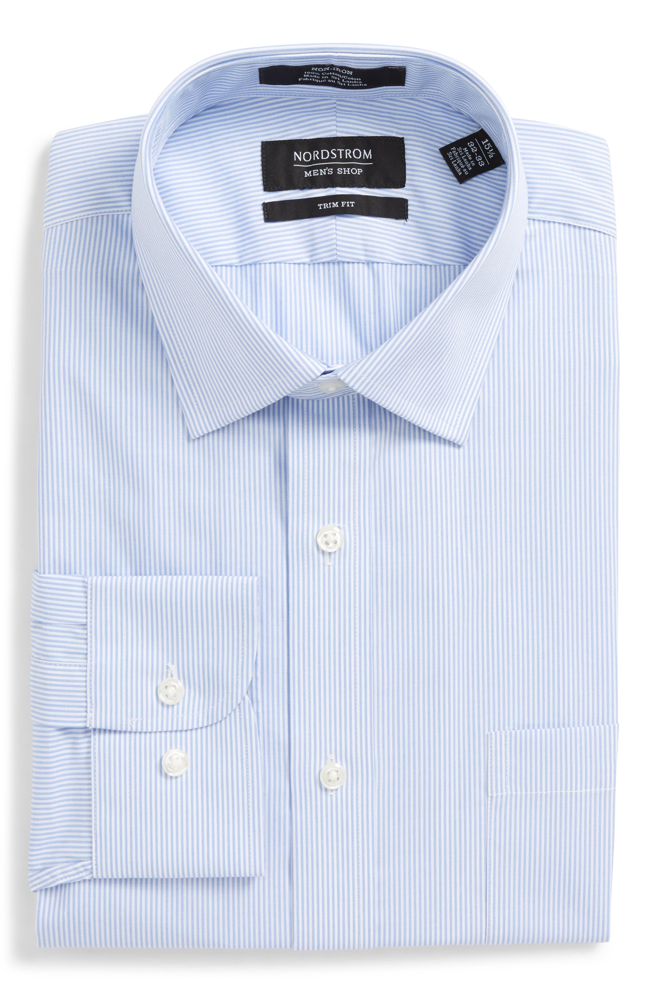 Trim Fit Non-Iron Stripe Dress Shirt,                             Alternate thumbnail 27, color,