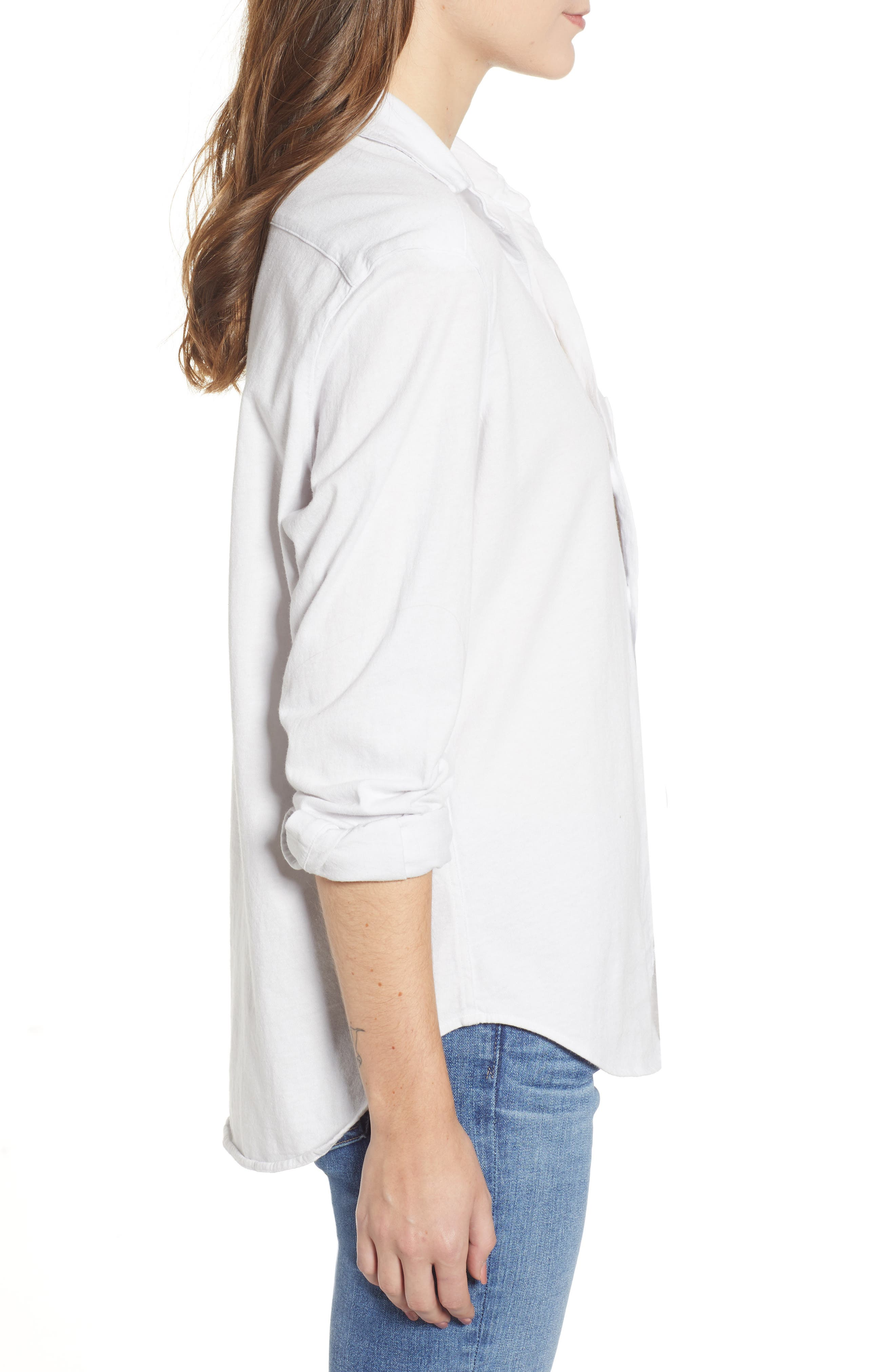 FRANK & EILEEN TEE LAB,                             Eileen Jersey Button Front Shirt,                             Alternate thumbnail 3, color,                             DIRTY WHITE