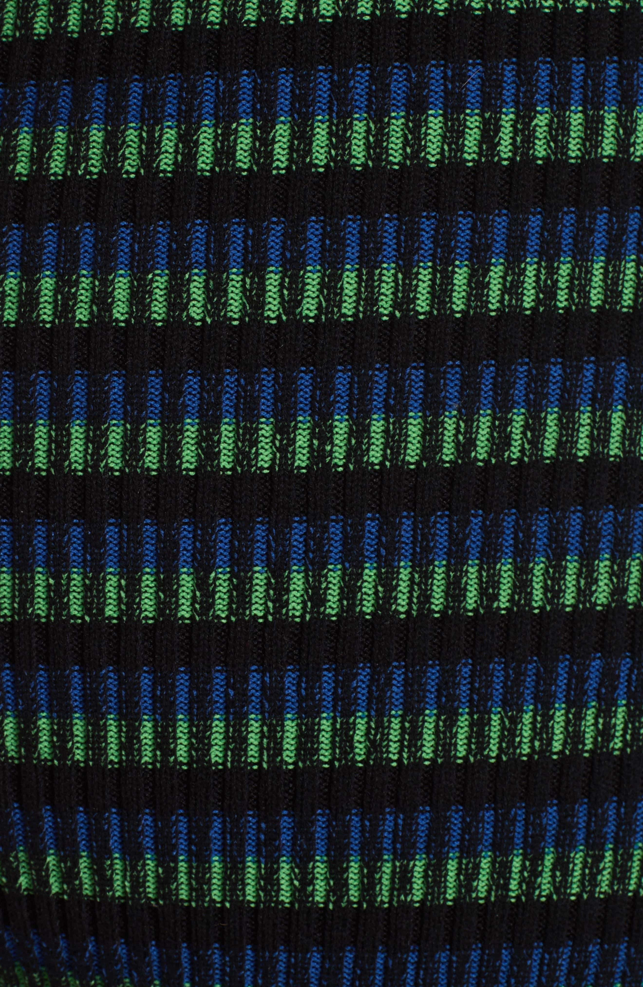 Ribbed Stripe Midi Dress,                             Alternate thumbnail 5, color,                             002