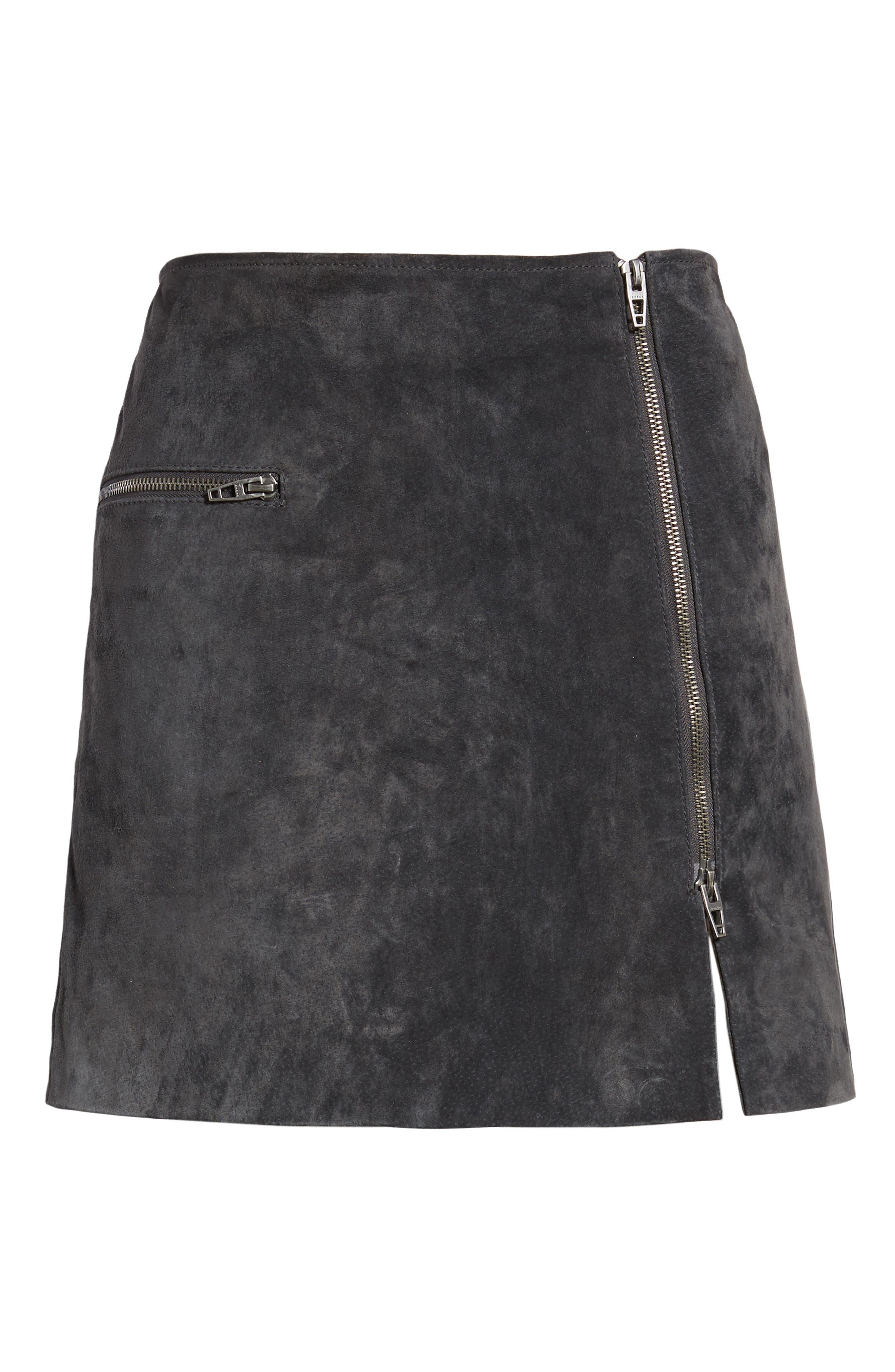 A-Line Suede Miniskirt,                             Alternate thumbnail 6, color,                             020