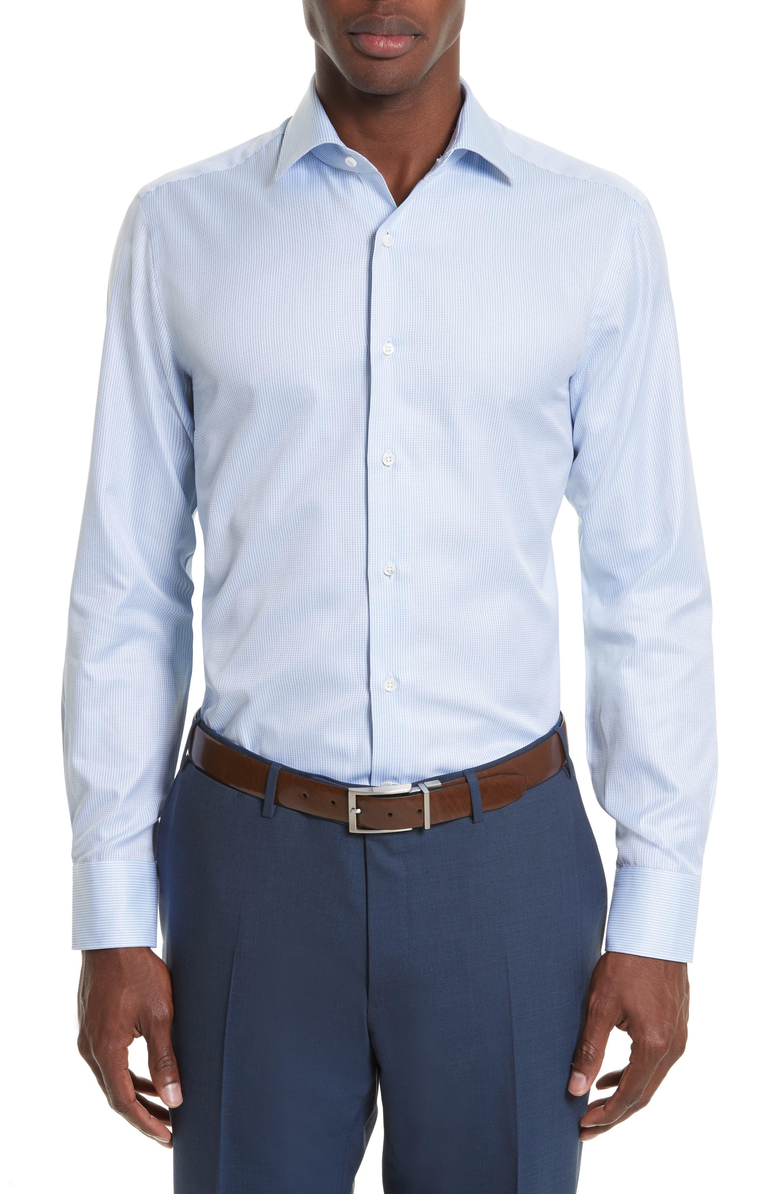 Regular Fit Stripe Dress Shirt,                             Main thumbnail 1, color,