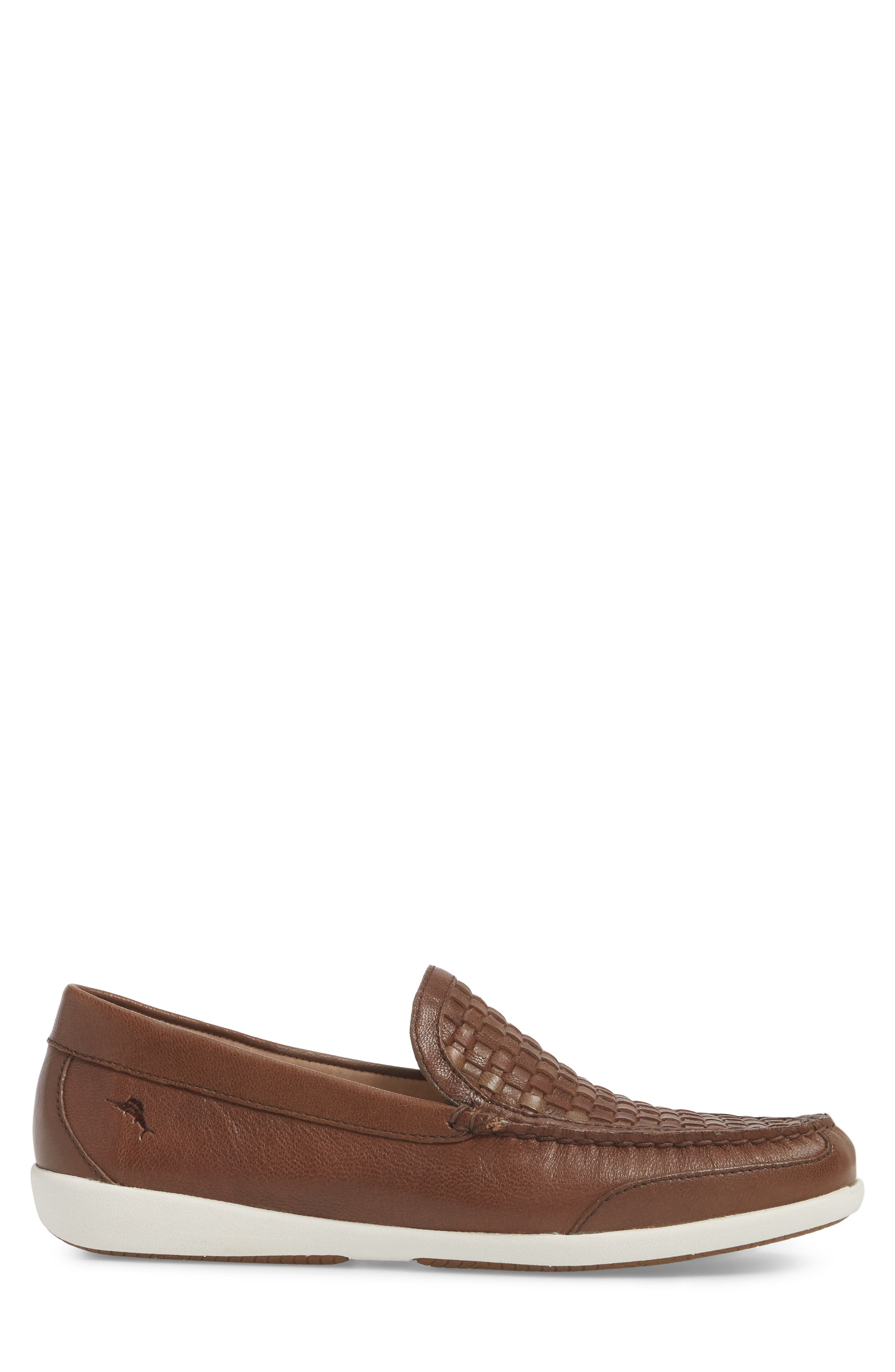 Taormina Woven Loafer,                             Alternate thumbnail 3, color,                             DARK BROWN LEATHER