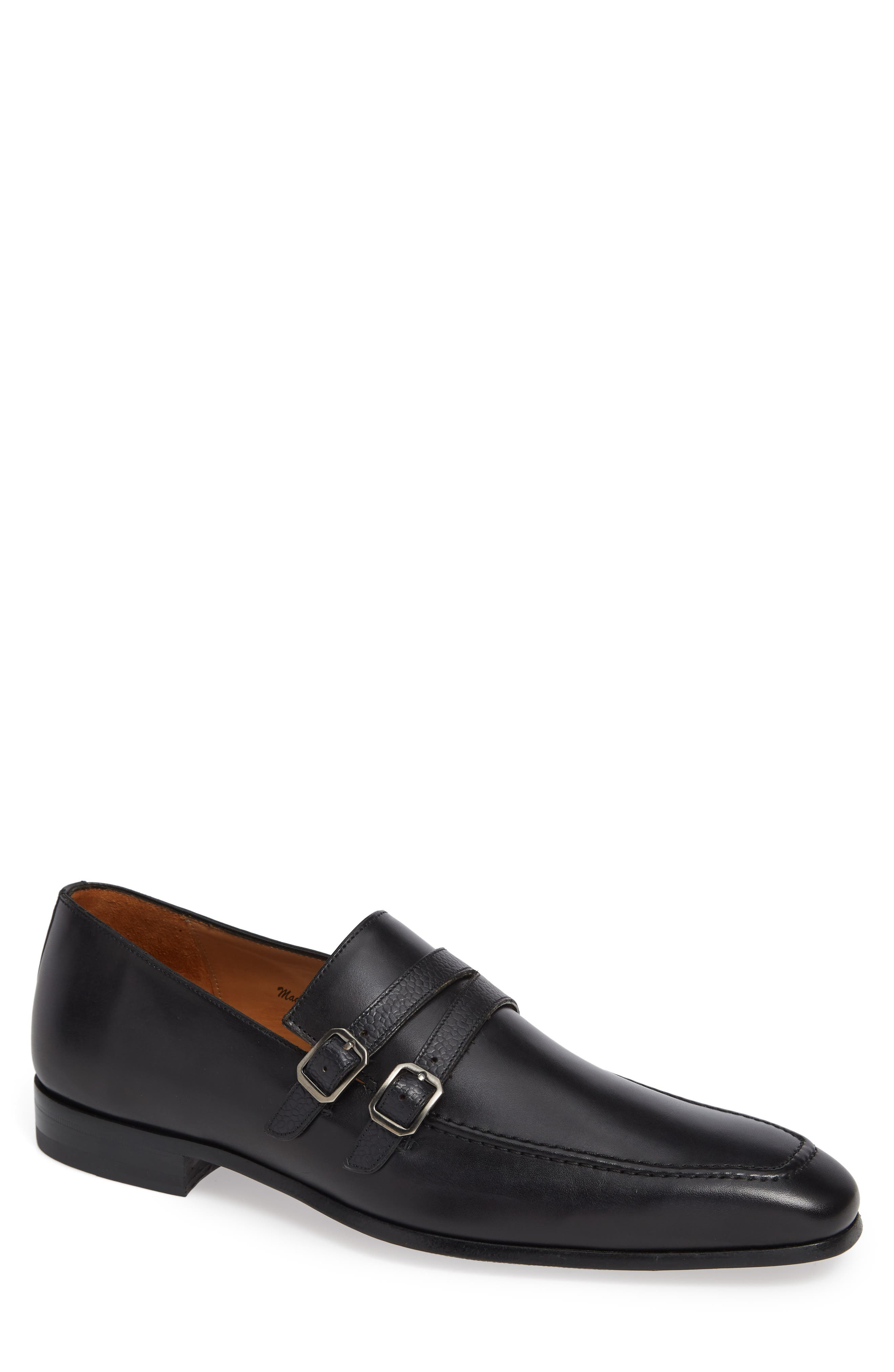 Callas Double Buckle Loafer, Main, color, BLACK LEATHER