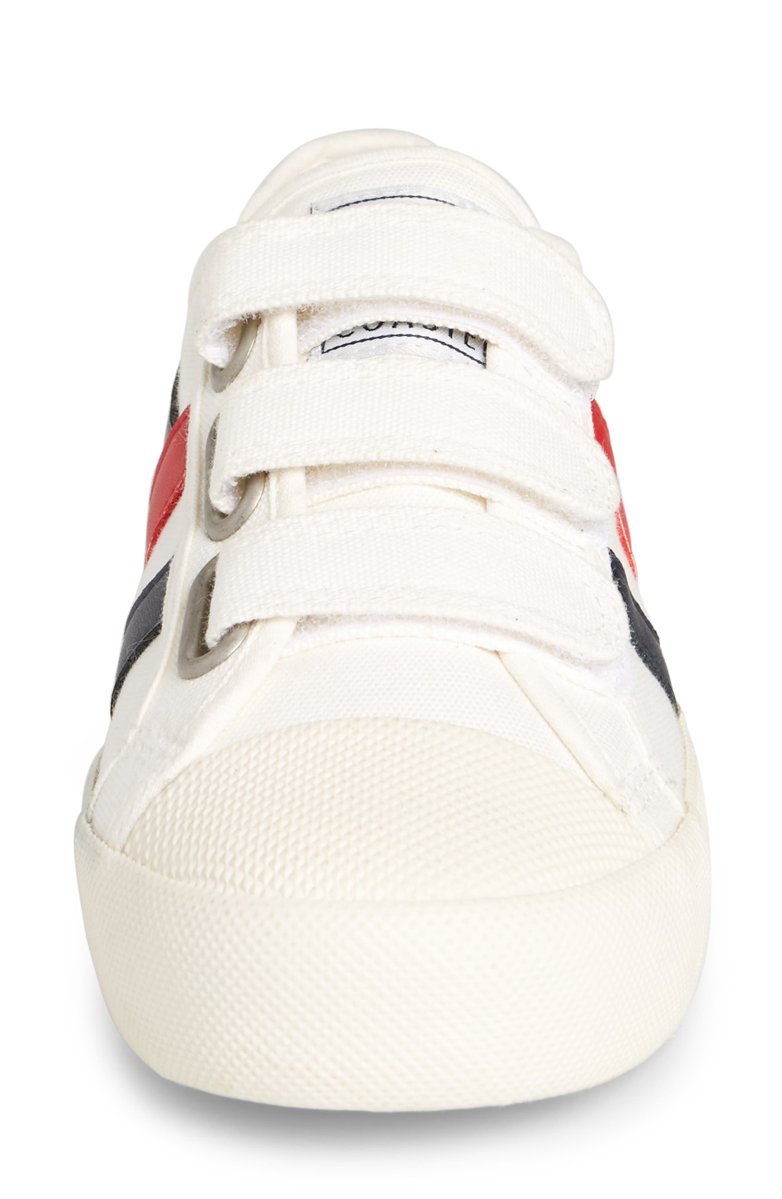Coaster Low Top Sneaker,                             Alternate thumbnail 4, color,                             OFF WHITE/ NAVY/ RED