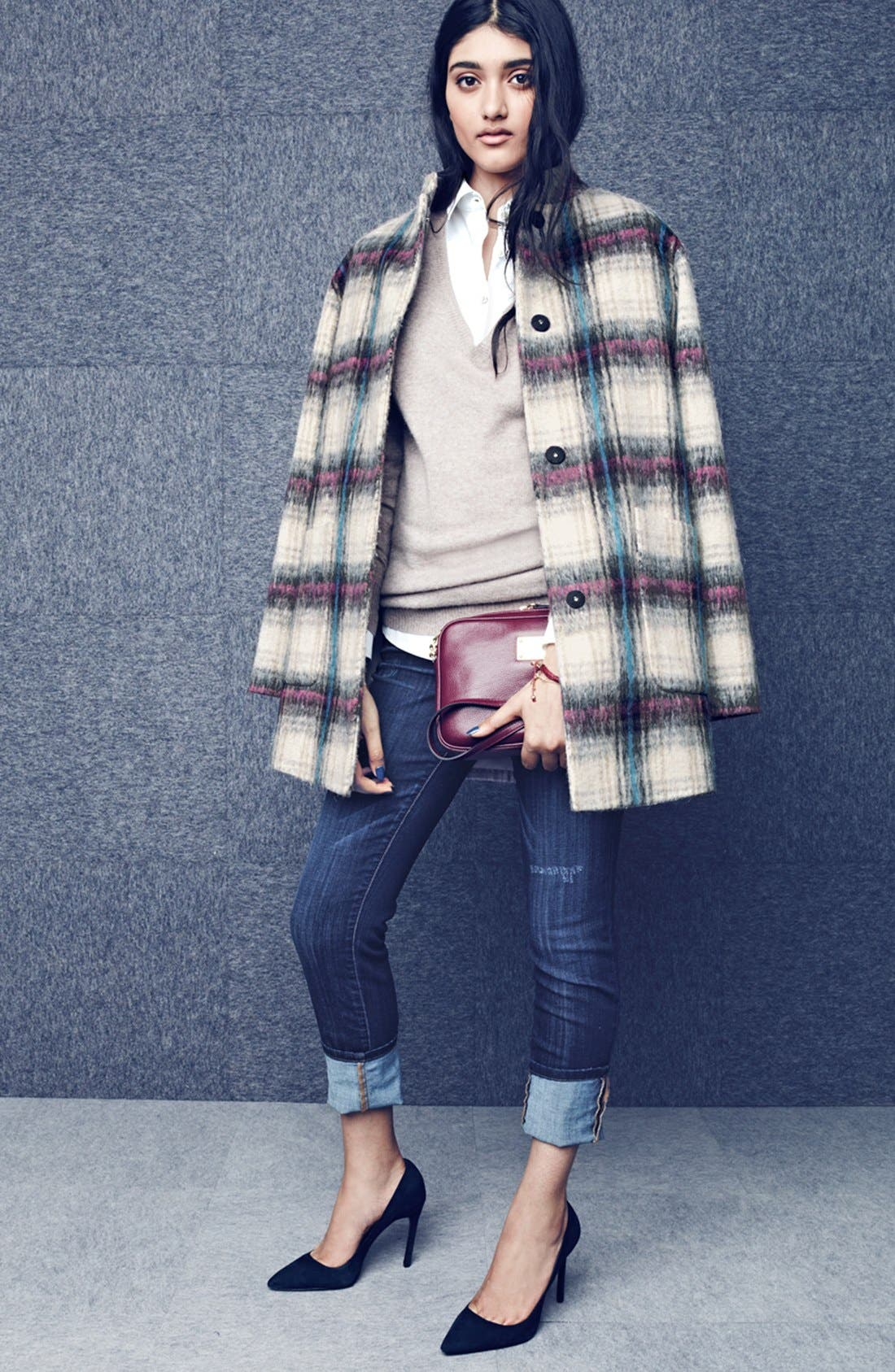 Drop Shoulder Plaid Wool Blend Coat,                             Alternate thumbnail 11, color,                             250