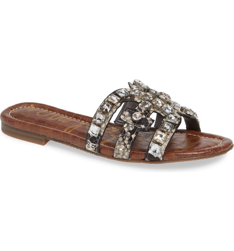 SAM EDELMAN Bay 2 Embellished Slide Sandal, Main, color, PUTTY FABRIC