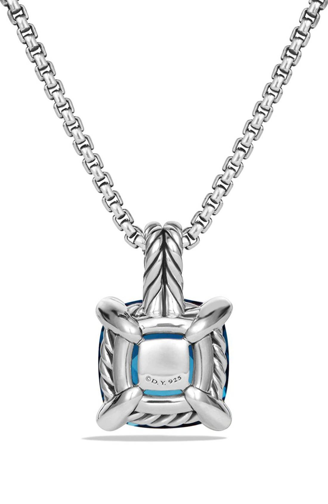 'Châtelaine' Pendant Necklace with Semiprecious Stone & Diamonds,                             Alternate thumbnail 4, color,                             SILVER/ HAMPTON BLUE TOPAZ