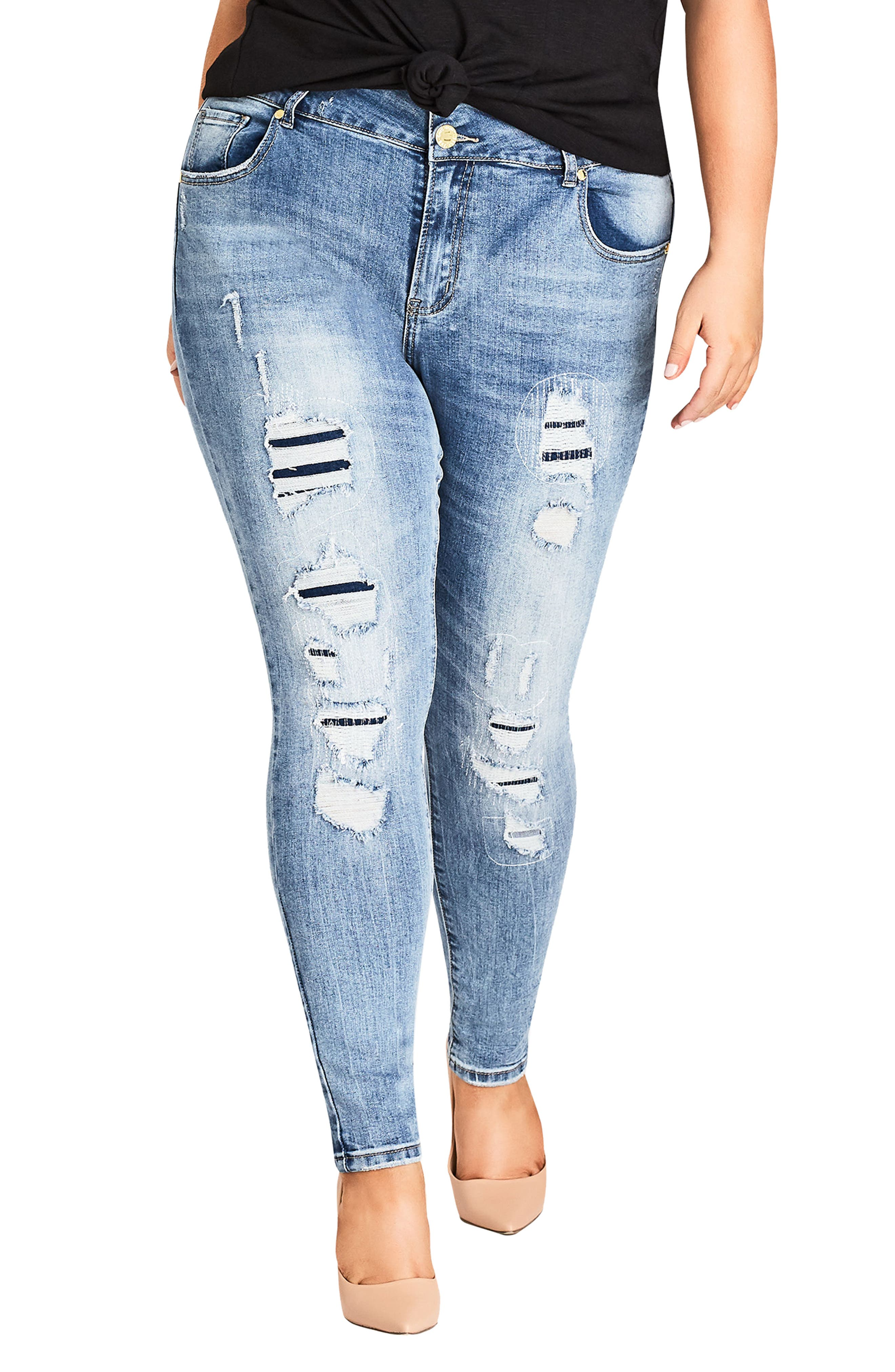 Asha Patched Ankle Skinny Jeans,                             Main thumbnail 1, color,                             DENIM MID