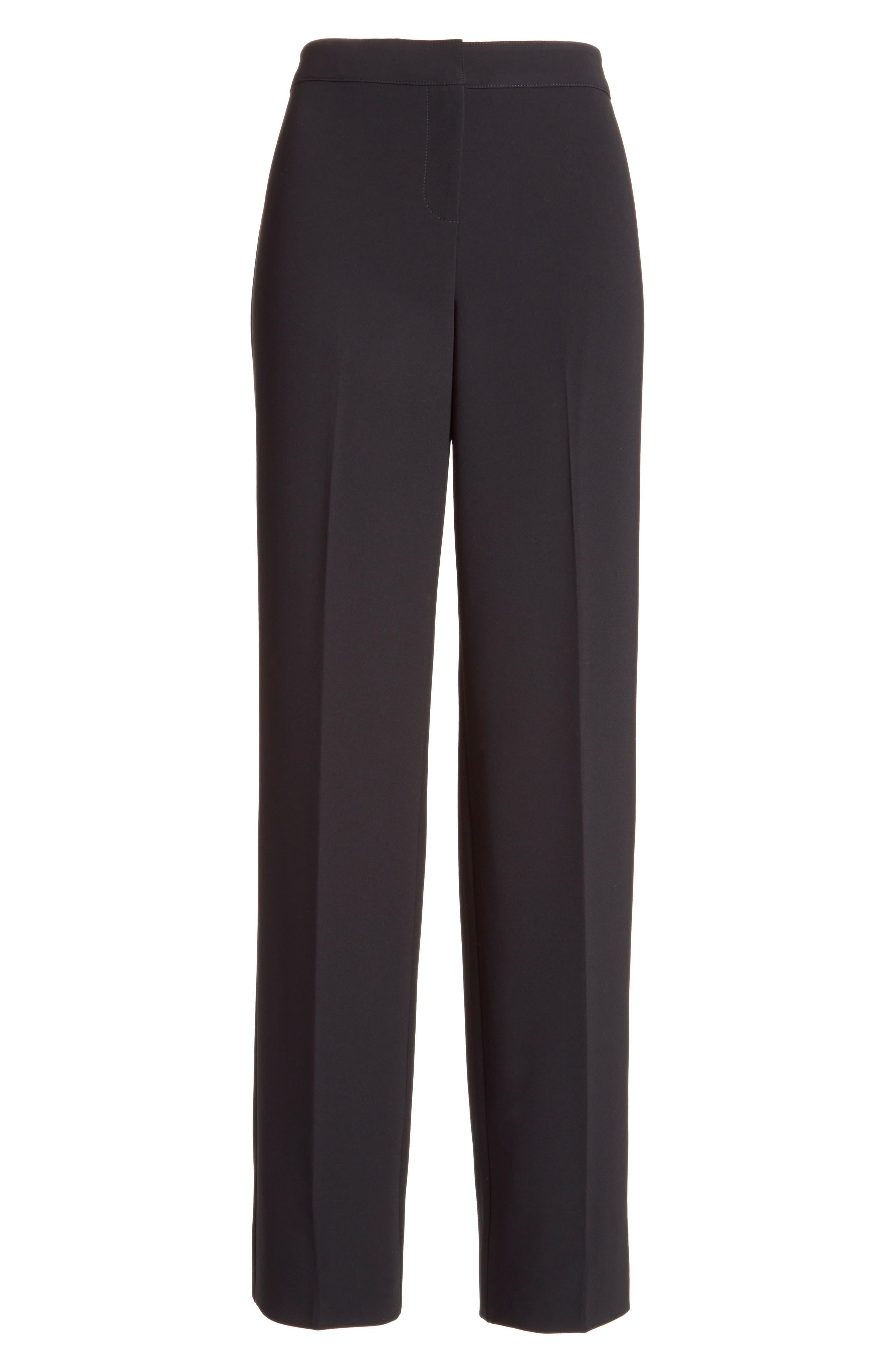 Diana Straight Leg Crepe Marocain Pants,                             Alternate thumbnail 7, color,                             CAVIAR