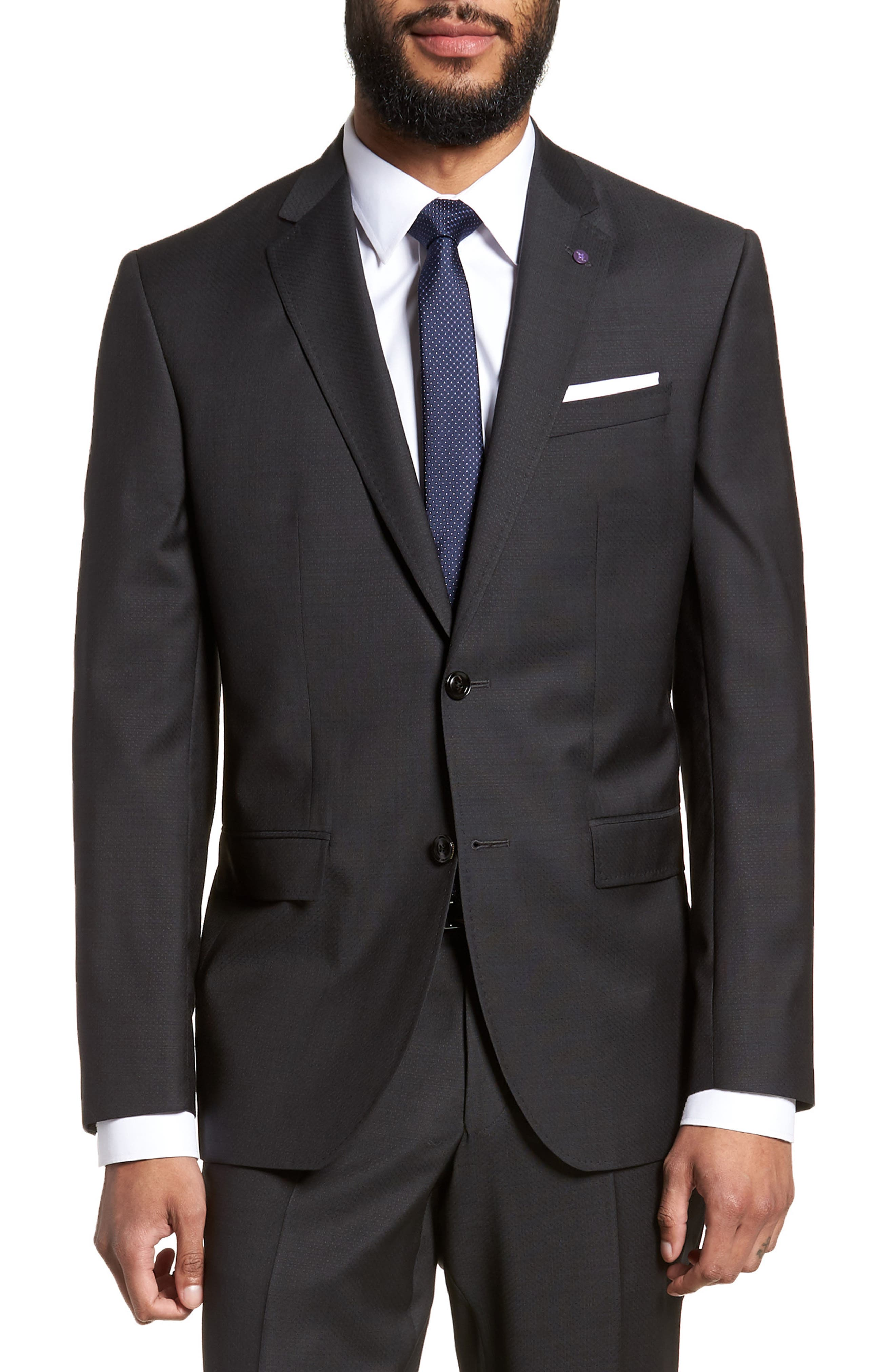 Jay Trim Fit Solid Wool Suit,                             Alternate thumbnail 5, color,                             001